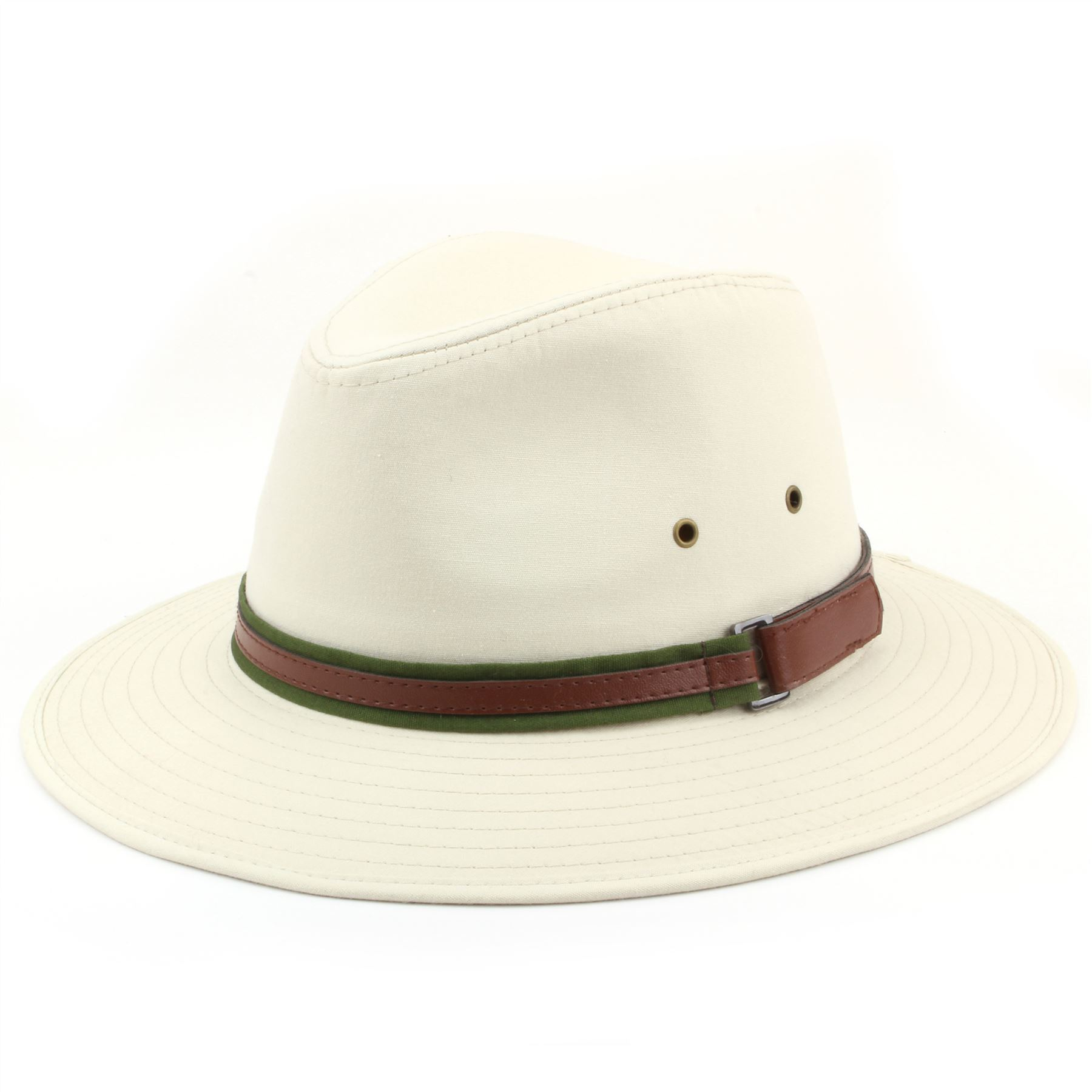 Fedora Hat Cotton Hawkins Wide Brim Band BEIGE WHITE 4 Sizes Trilby ... 2d772651150