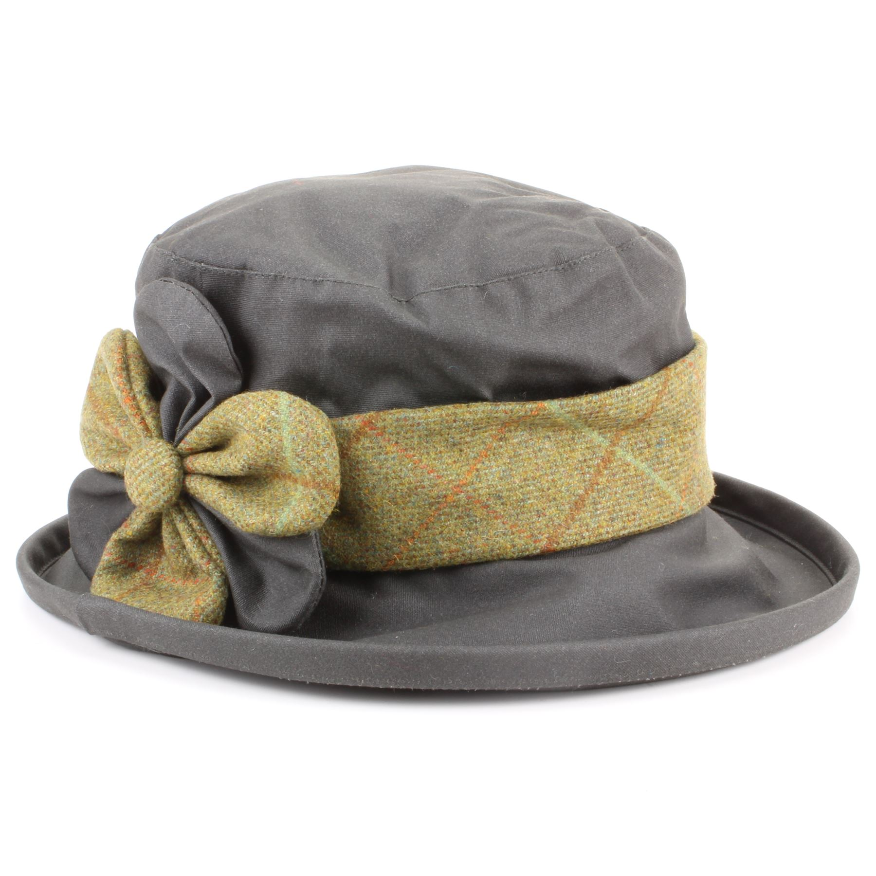 Details about Tweed Wax Hat Womens Ladies Flower Brown Green Band Brim  Water New Winter 0f32eaa6d66