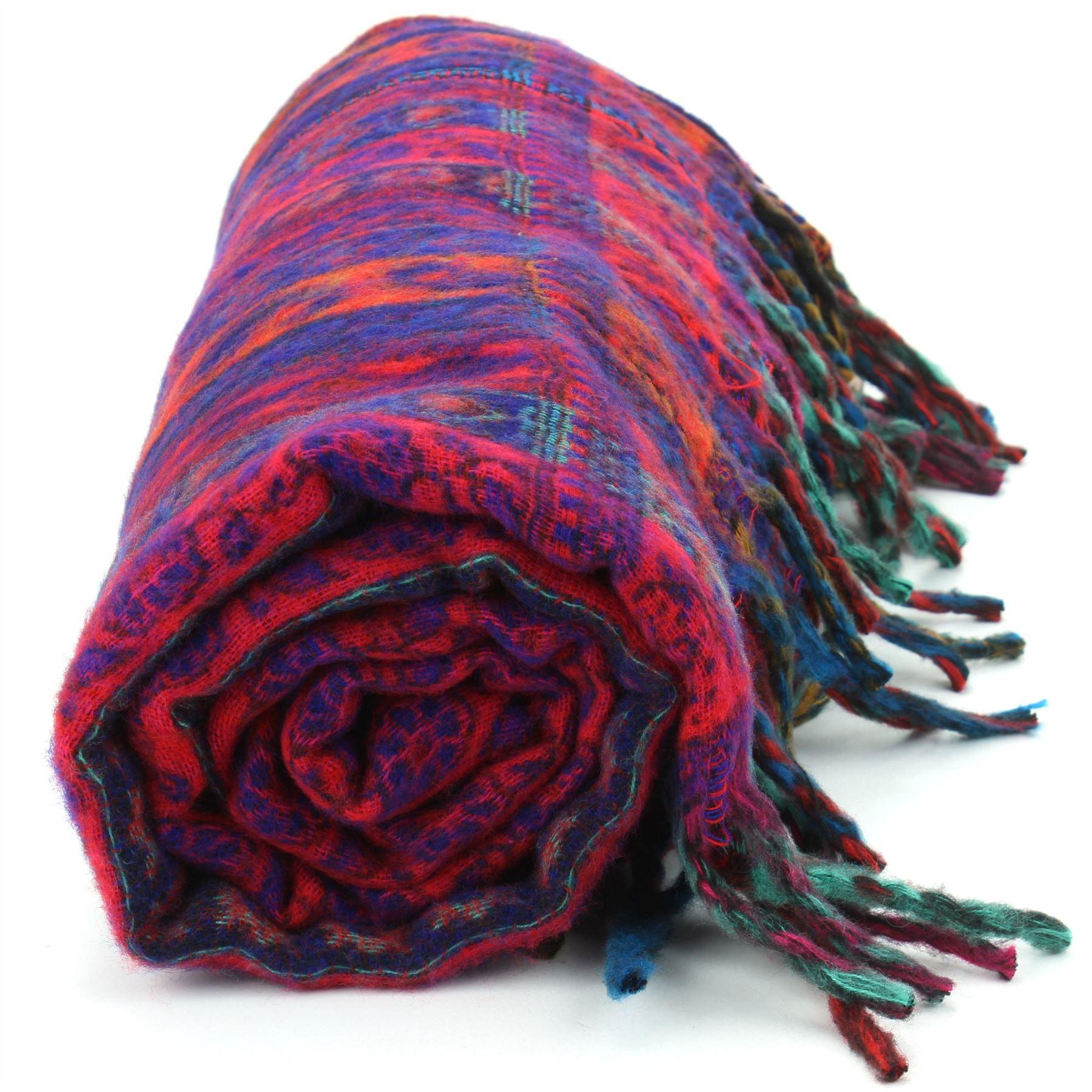 Acrylic-Wool-Blanket-Shawl-Wrap-Throw-Finest-Softest-India-Stripe-Paisley-Travel thumbnail 8