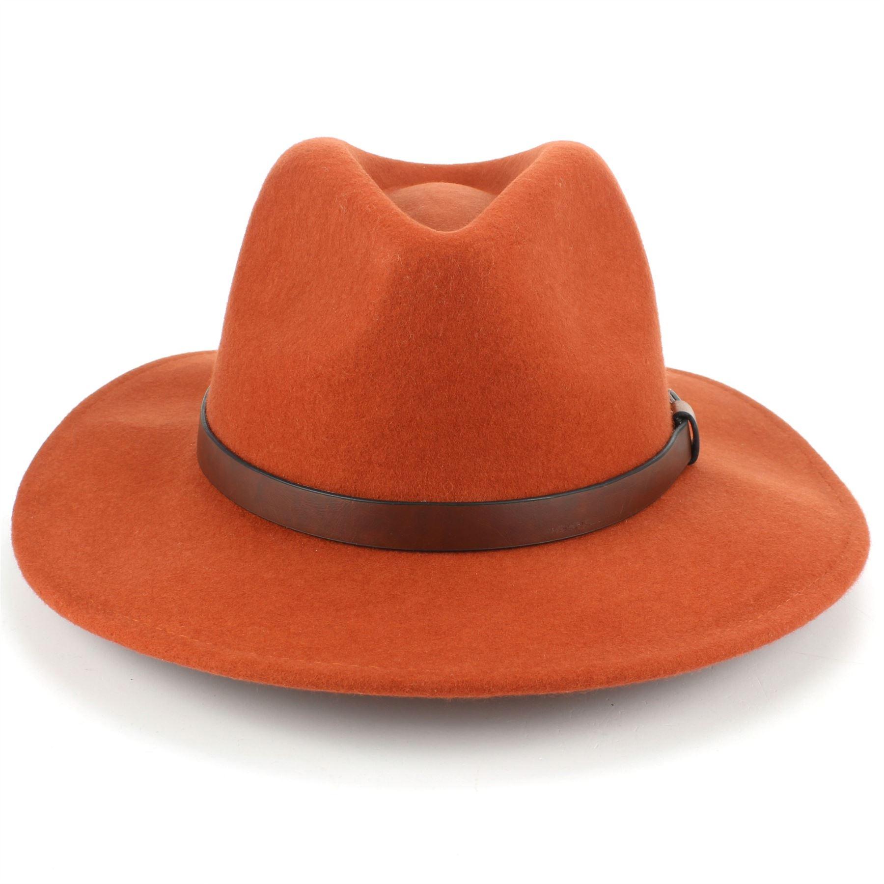 Fedora-Hat-Wool-Felt-Hawkins-Feather-Band-Trilby-Ladies-Men-Travel-Brim-Travel thumbnail 19