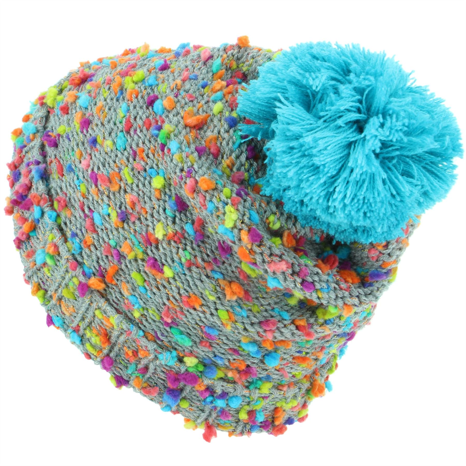 28c5067525d6a6 Beanie Hat Cap Warm Winter RAINBOW FLECK Childrens Soft Chunky Bobble  Hawkins. Hover to zoom