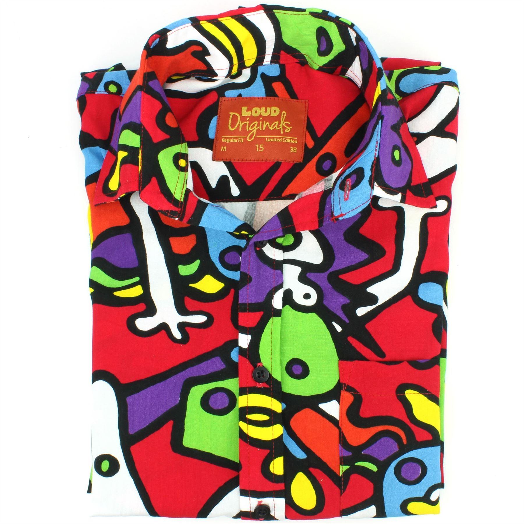 Mens-Shirt-Loud-Originals-Rayon-REGULAR-FIT-Long-Sleeve-TIFFY-PRINT-Retro-Dance thumbnail 16