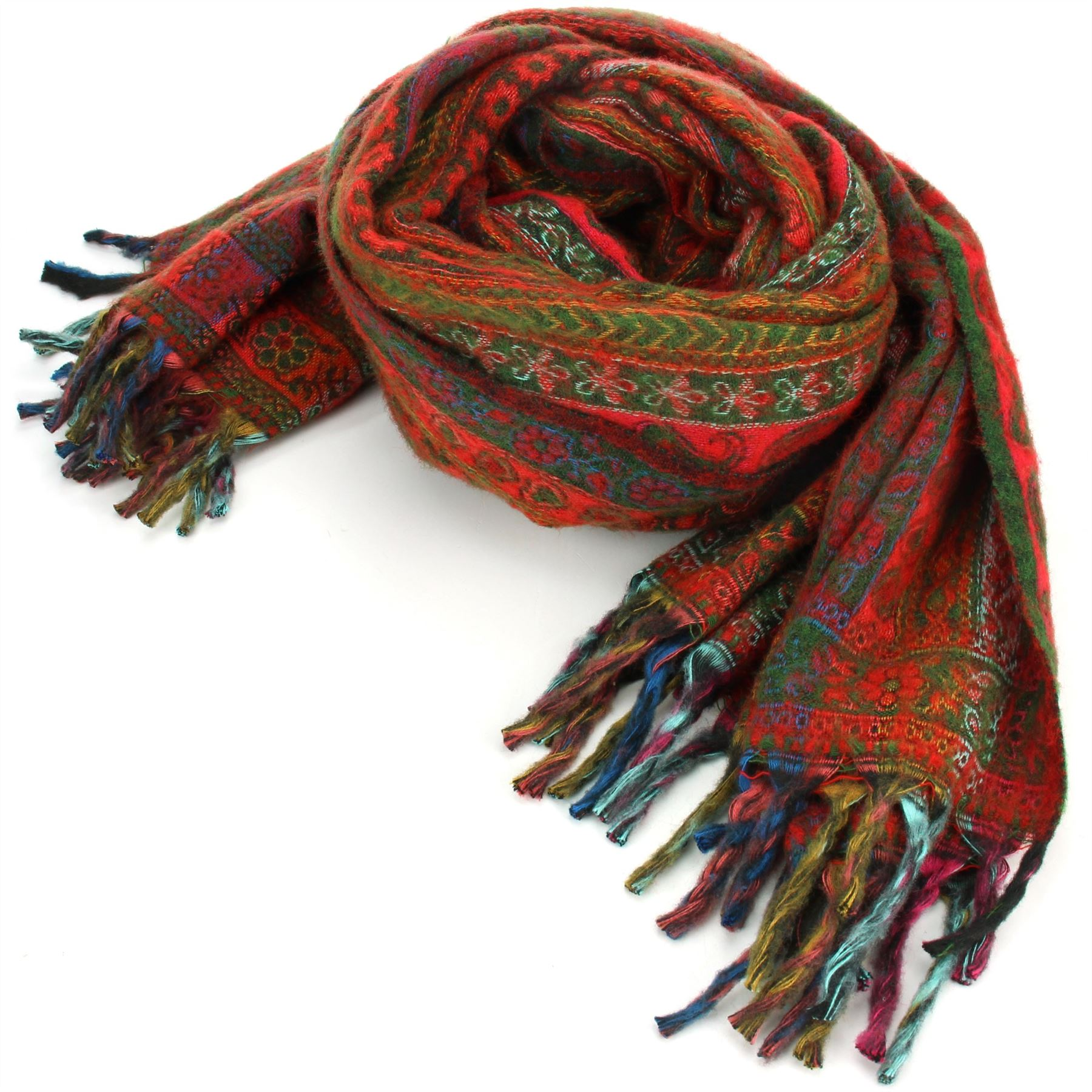 Acrylic-Wool-Blanket-Shawl-Wrap-Throw-Finest-Softest-India-Stripe-Paisley-Travel thumbnail 41