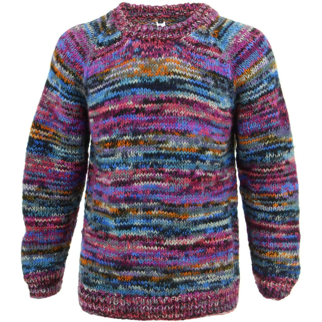 Wool Jumper PINK Chunky Knit Knitted Sweater Pullover Raglan Crew Neck