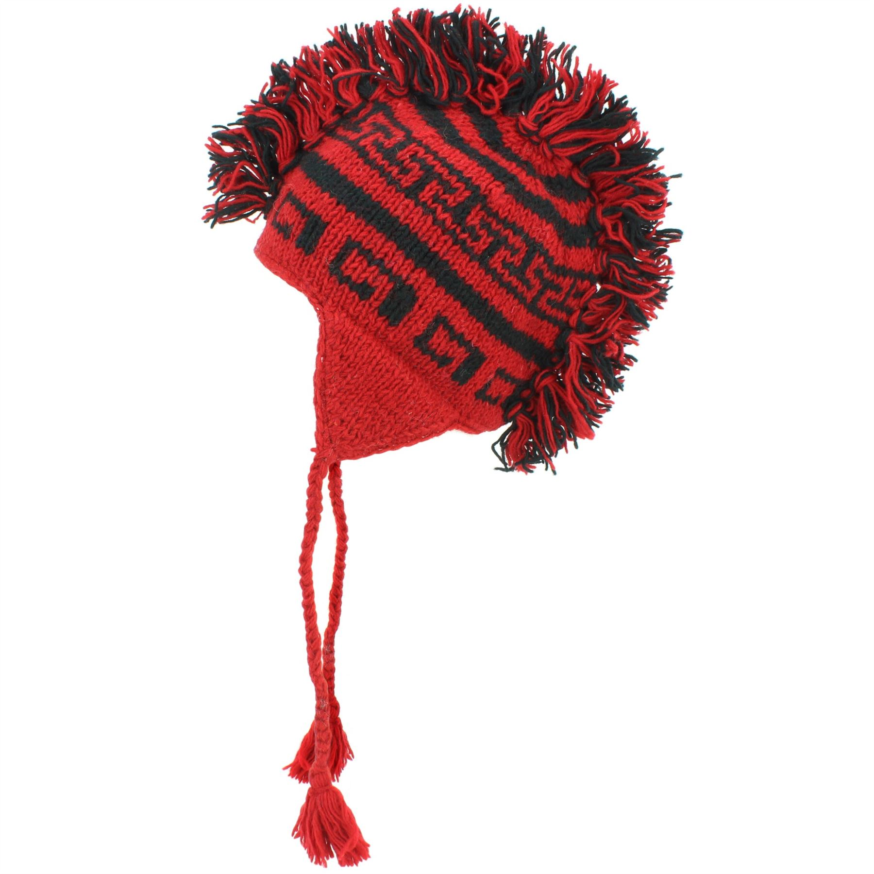 008b4fd7564 LoudElephant Wool Knit  Punk  Mohawk Earflap Beanie Hat - Red   Black. Hand knitted  wool beanie hat with ...