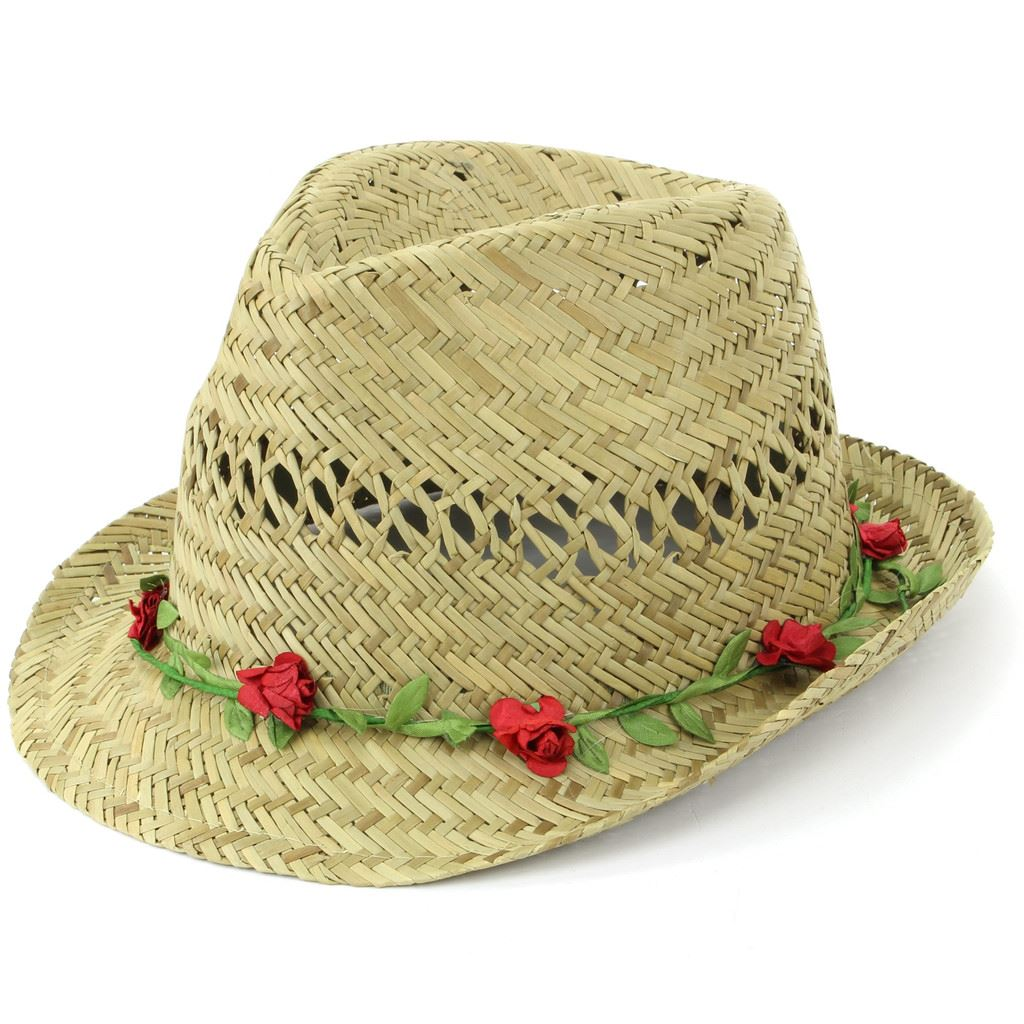 Details about Trilby Hat Straw Fedora Cap Ladies Unisex Brim Travel Hawkins  FLOWER GARLAND 5e3e61029f3f