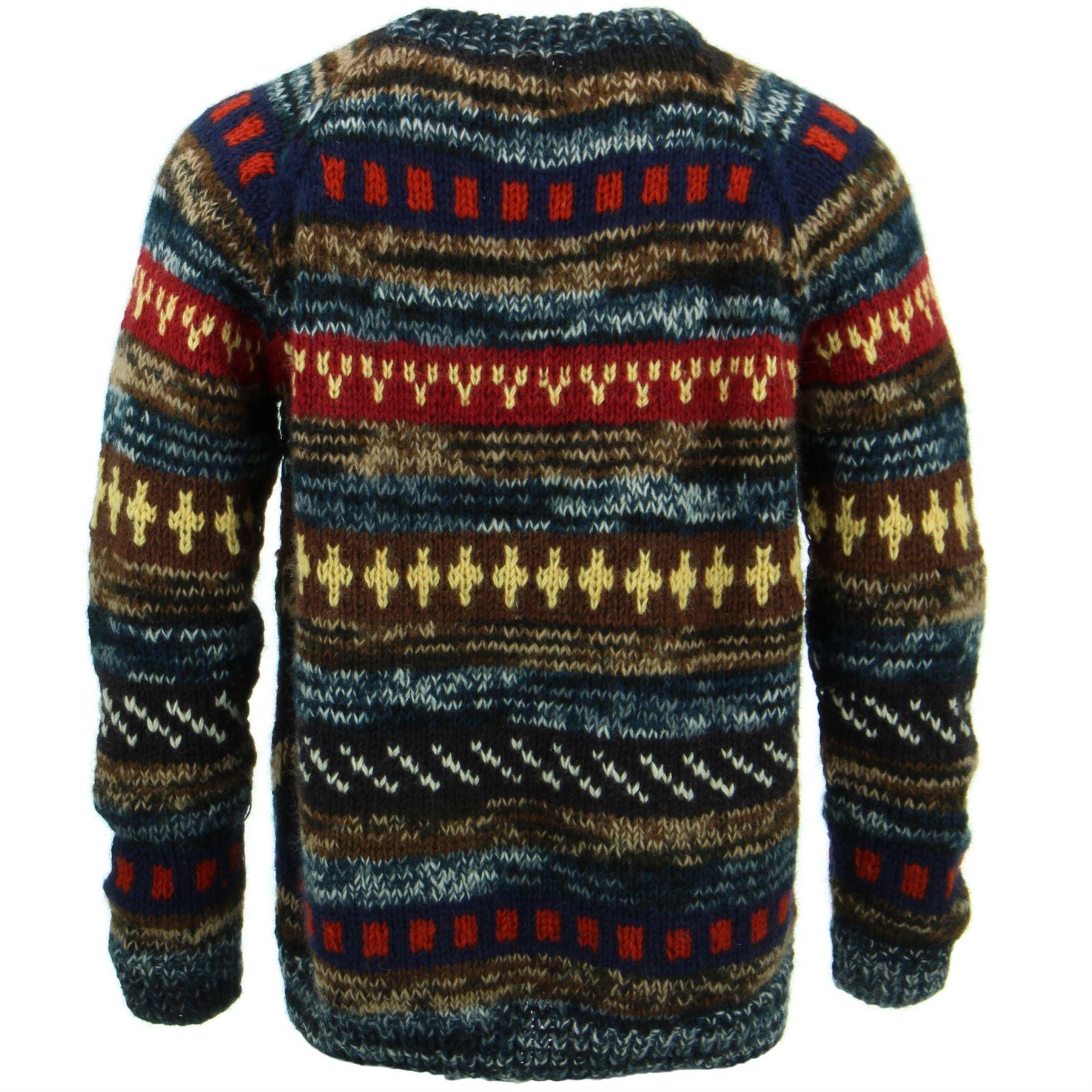 thumbnail 7 - Wool Knit Jumper Sweater Pullover Fairisle Nordic Abstract Warm Nepal Loose