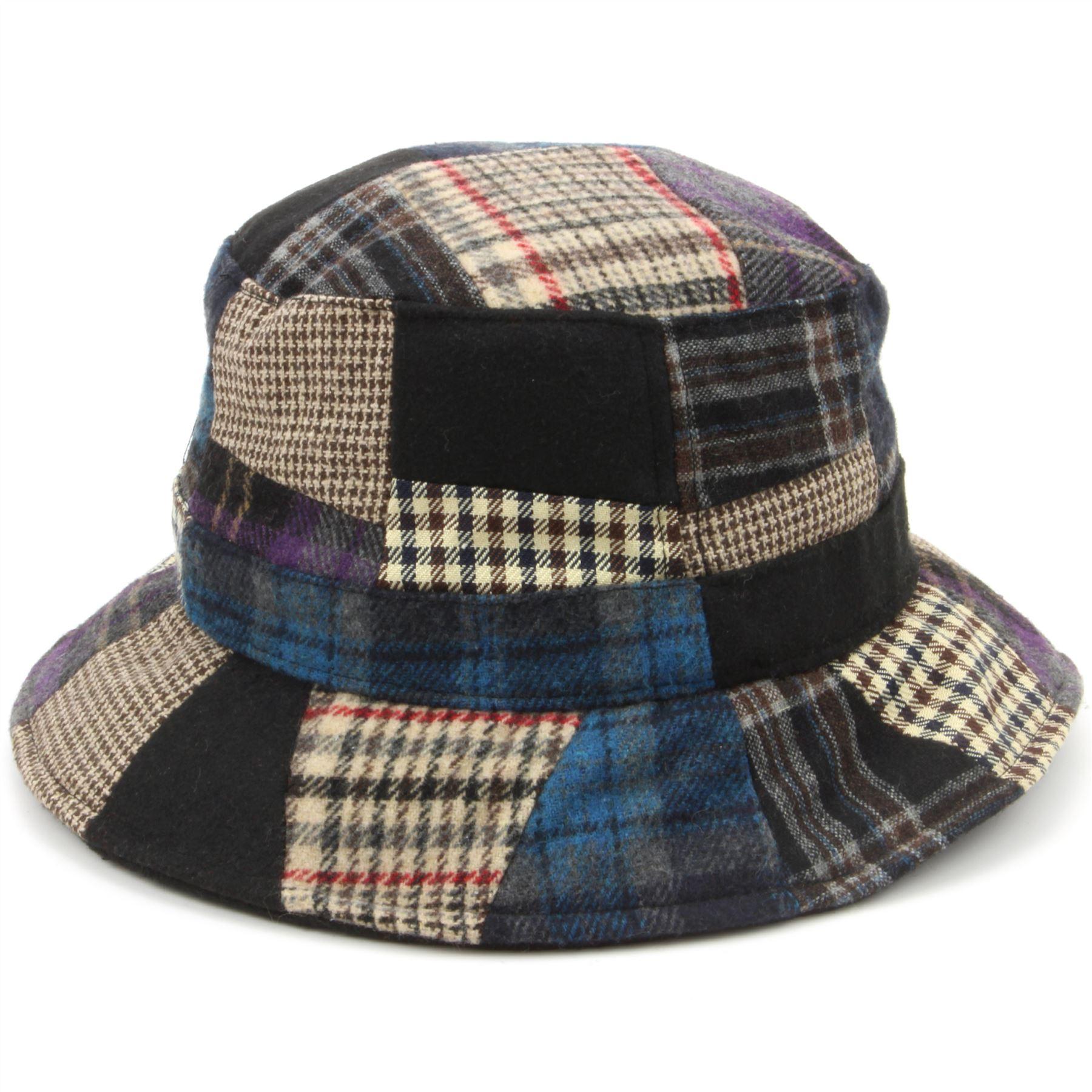 34246fbe049ba Details about Tweed Bucket Hat Hawkins Patchwork Wool BLUE RED 4 Sizes  Fisherman Cap