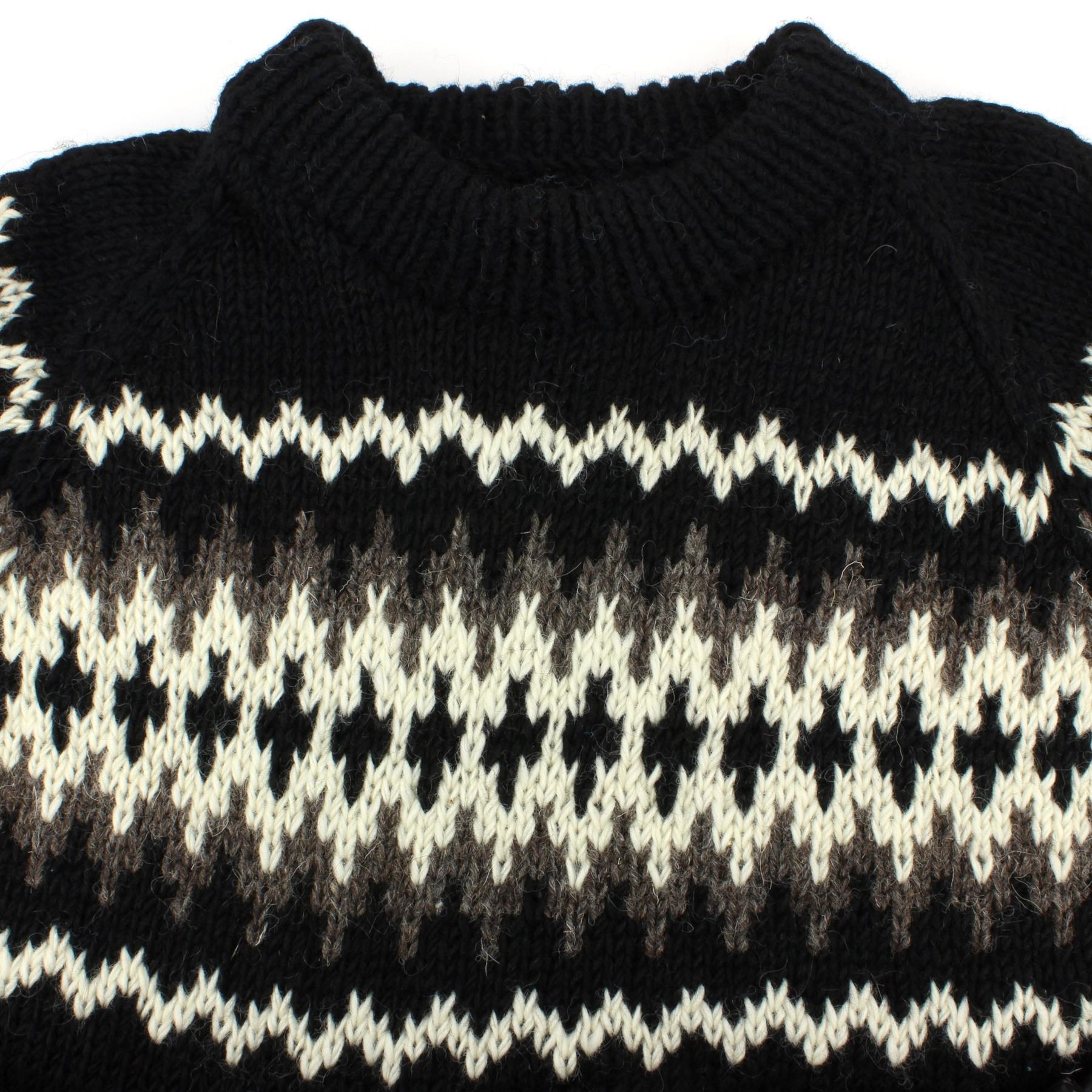 thumbnail 23 - Wool Knit Jumper Sweater Pullover Fairisle Nordic Abstract Warm Nepal Loose