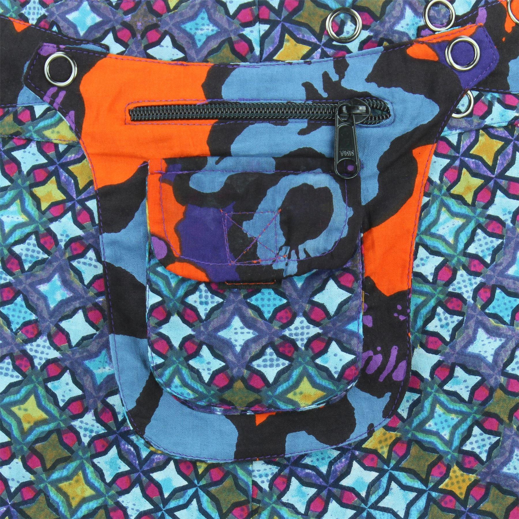 Hippie Bohemio Mini Falda Corta Popper Boho Envoltura De Bolsillo Algodón Reversible Stud