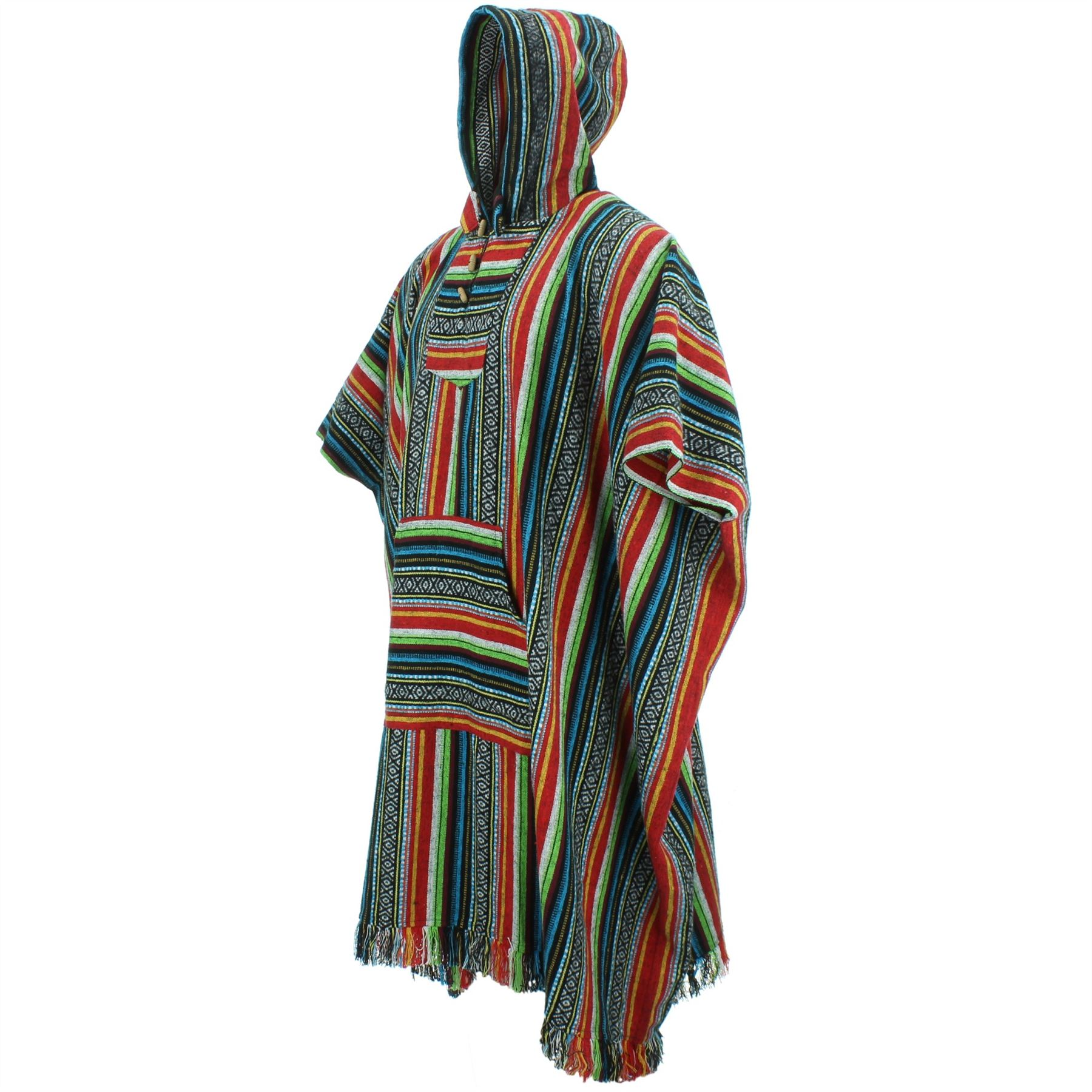 Poncho-Hooded-Cape-Cotton-Warm-Festival-Long-Woven-Rainbow-Men-Women thumbnail 8
