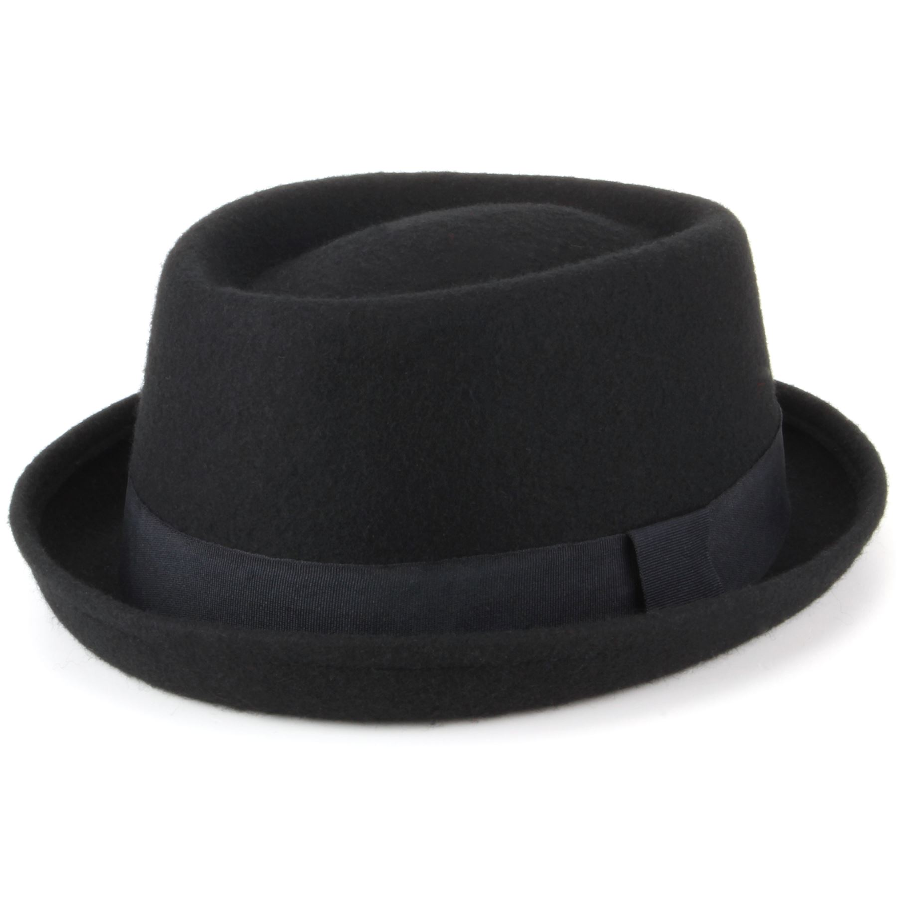 Black Hand Made 100/% Wool Felt Porkpie Trilby Hat With Black Band
