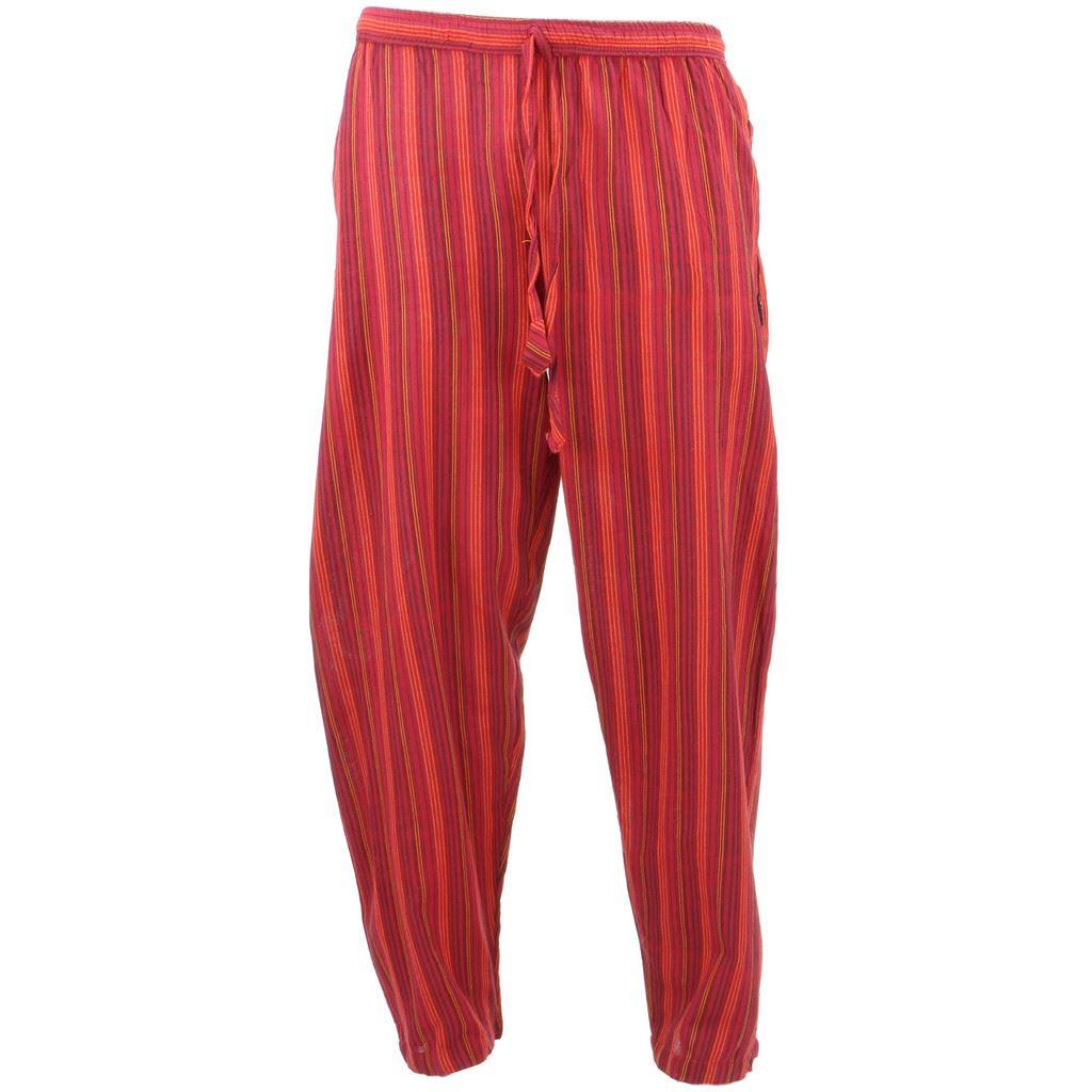 Women Cropped Wide Legs Pants Femme Striped Floral Print ... |Hippie Striped Pants