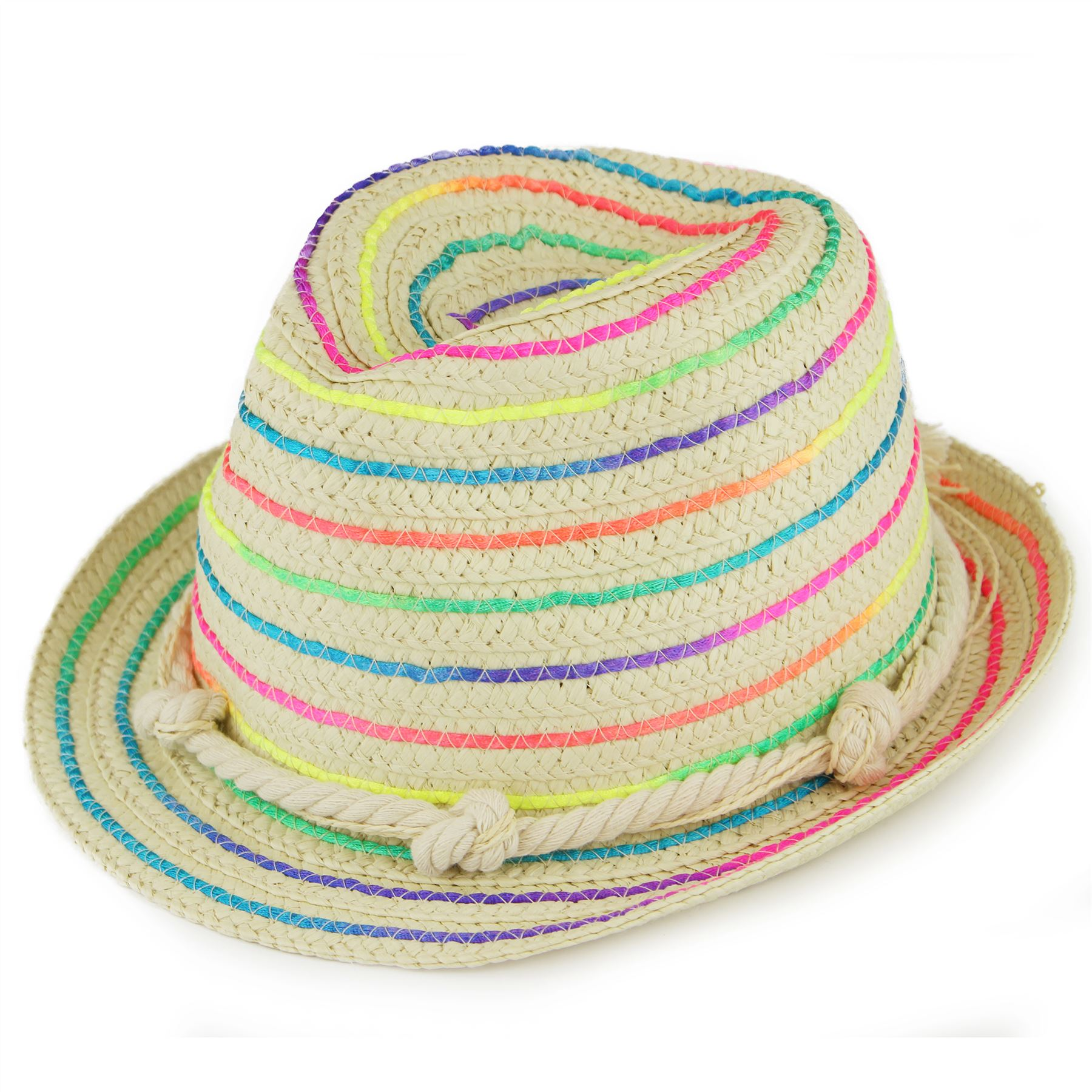 Hawkins Straw paper trilby hat with multi-coloured weave and rope band -  Rainbow e5e8078ab62