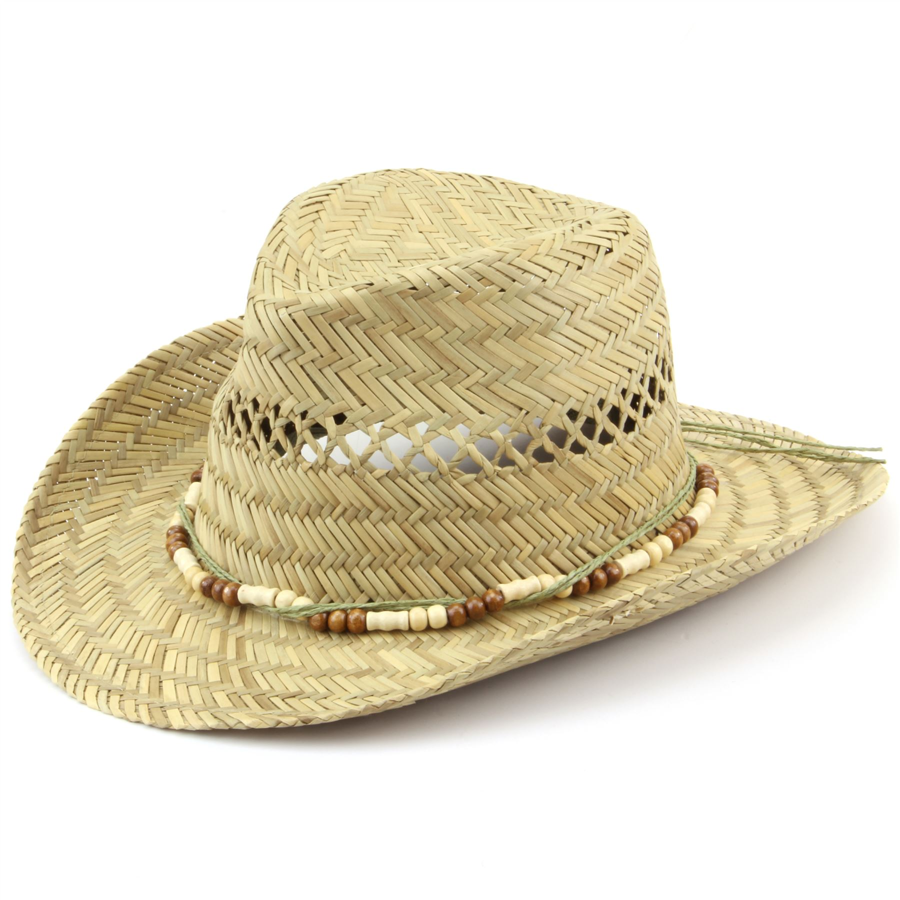 89851500aae389 Straw Cowboy Hat Hawkins Wood Band Cap Mens Womens Band Ladies ...