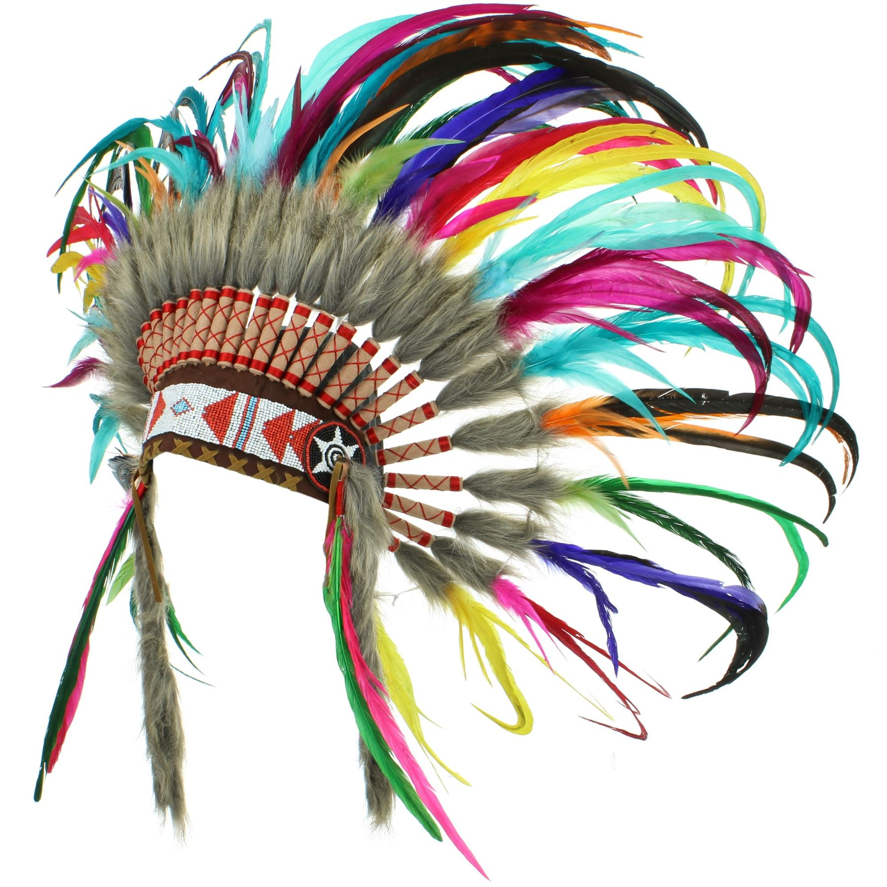 Indian Headdress Chief Feathers Bonnet Native American Gringo Indian Hat Party