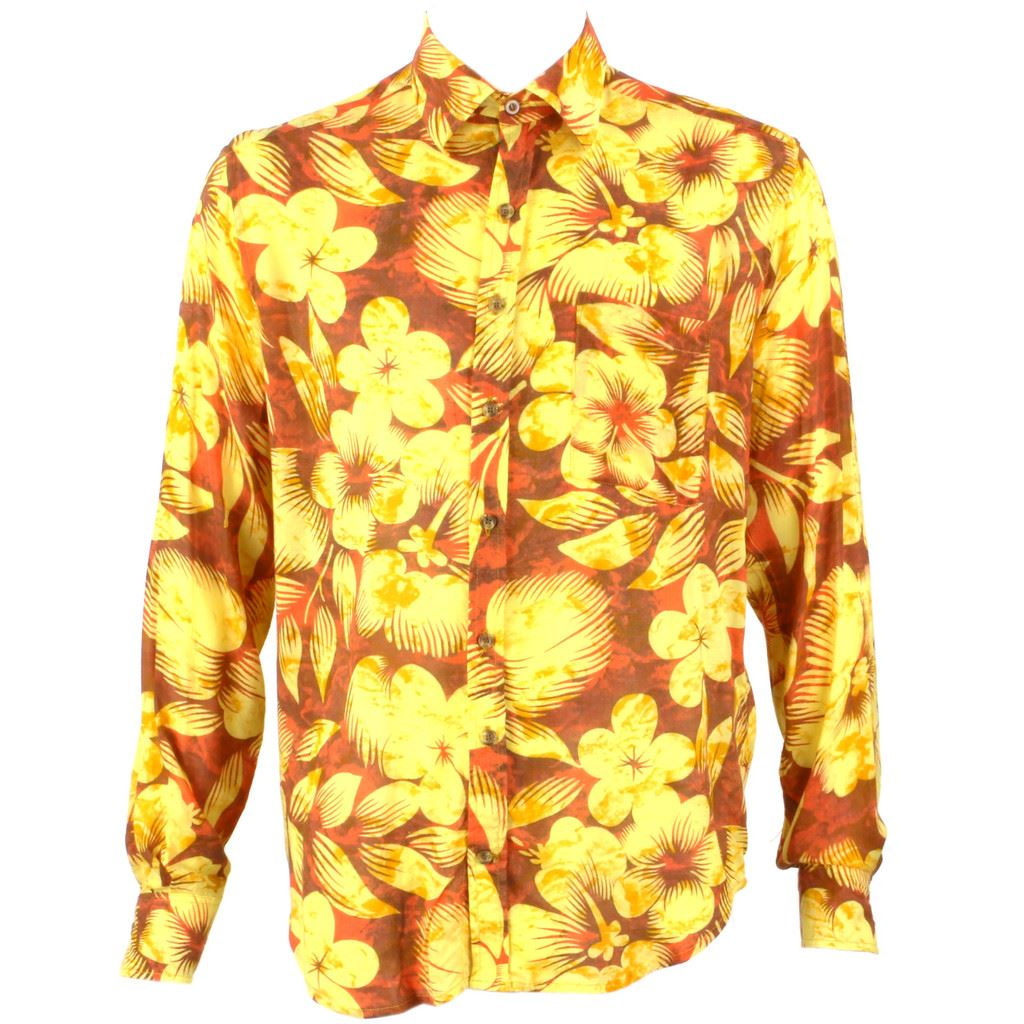 Relco Men/'s Yellow Short Sleeved Button Down Retro Abstract Loud 60/'s Shirt