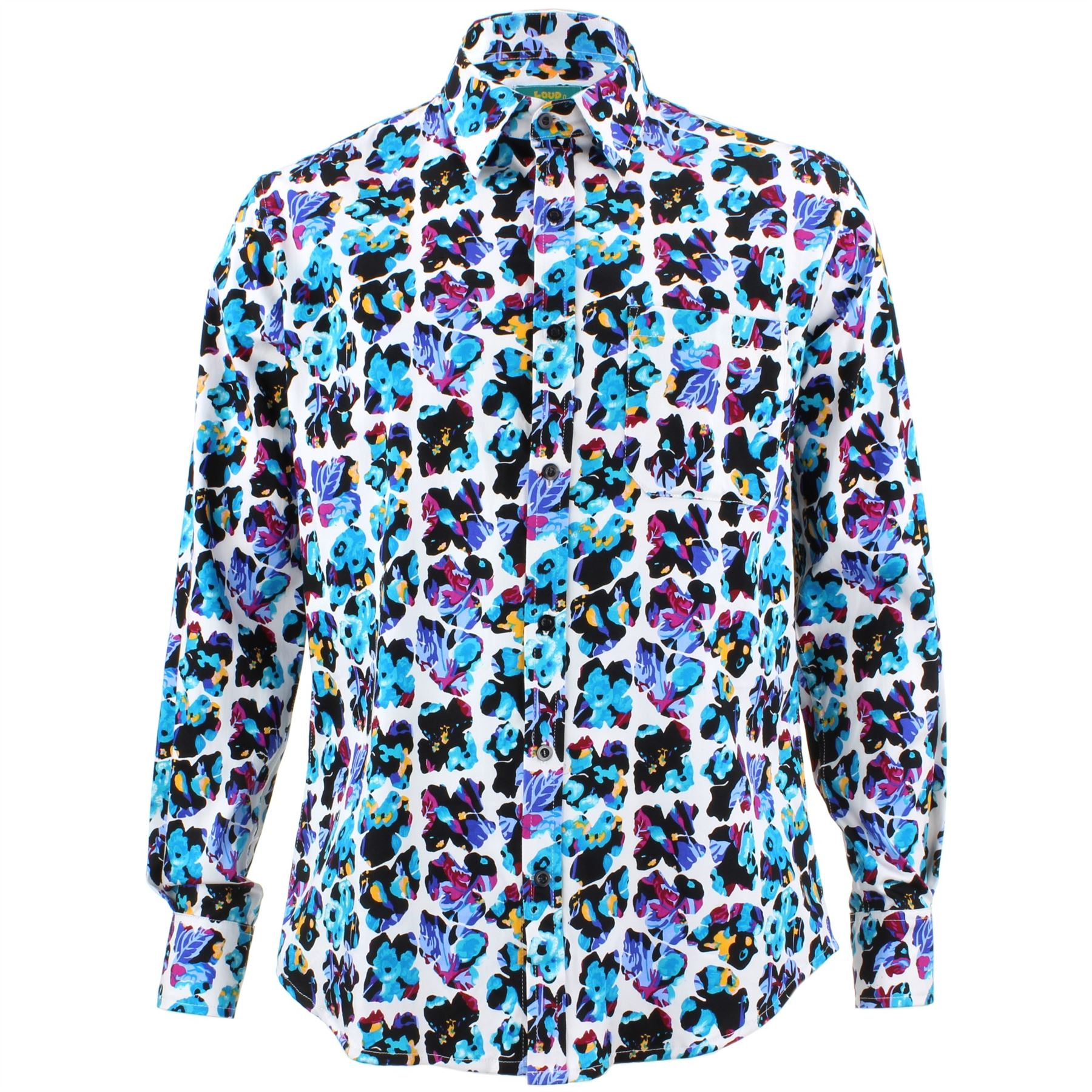 Mens Loud Shirt Retro Psychedelic Funky Party TAILORED FIT Abstract Butterfly