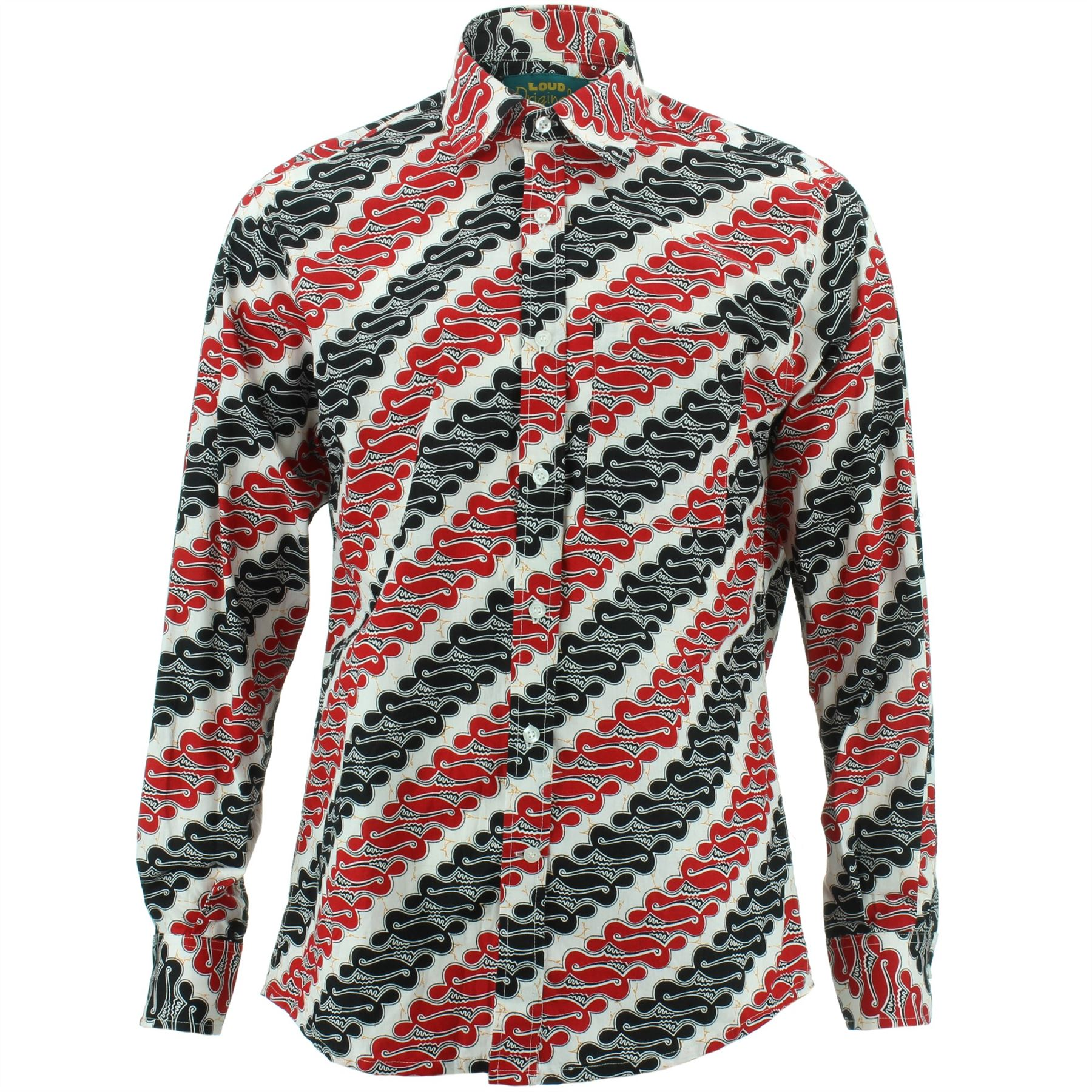 Mens Shirt Loud Originals REGULAR FIT Abstract White Retro Psychedelic Fancy