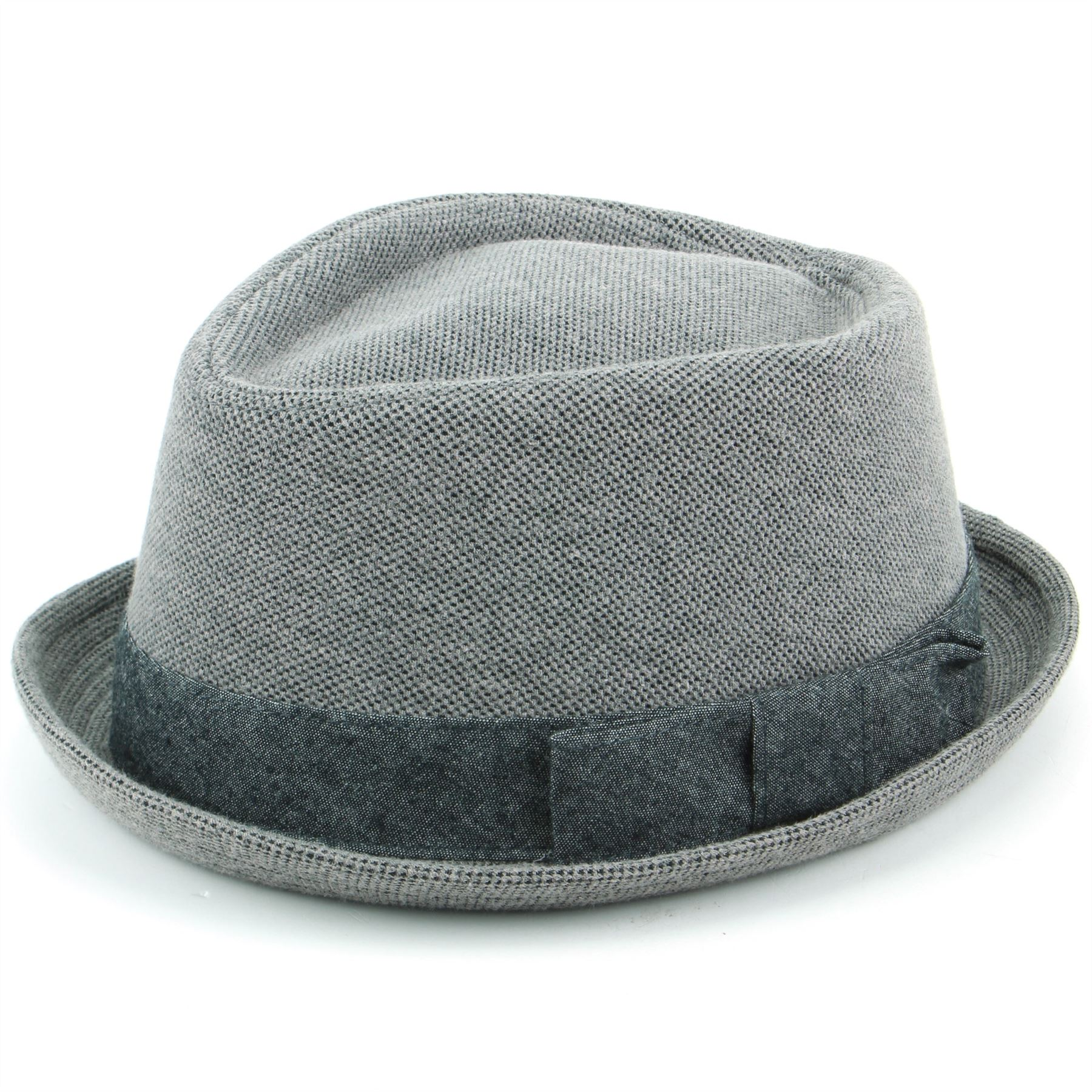 150a2fe25e21e Hat Porkpie Pork Pie Cotton GREY Trilby Mens Ladies Diamond Crown ...