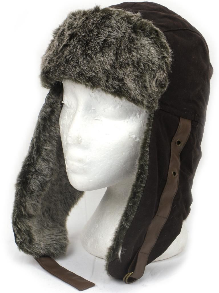 90d7b654292 WAX TRAPPER HAT AVIATOR STYLE with FAUX FUR LINING   TRIM 4 Sizes ...