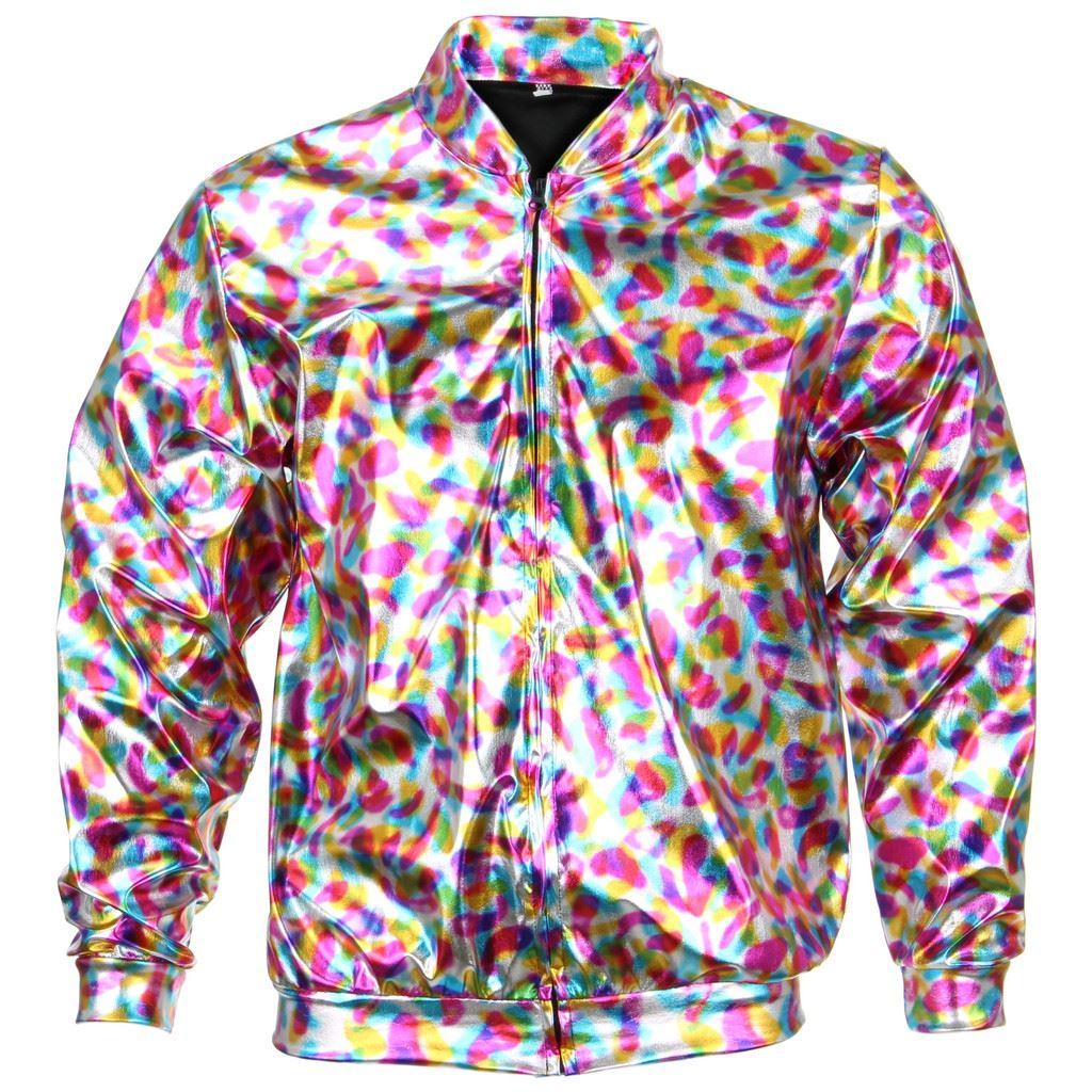 Bomber-Jacket-Shiny-Unisex-Ladies-Men-FIREFLY-Sparkly-GOLD-SILVER-RAINBOW-PURPLE thumbnail 12