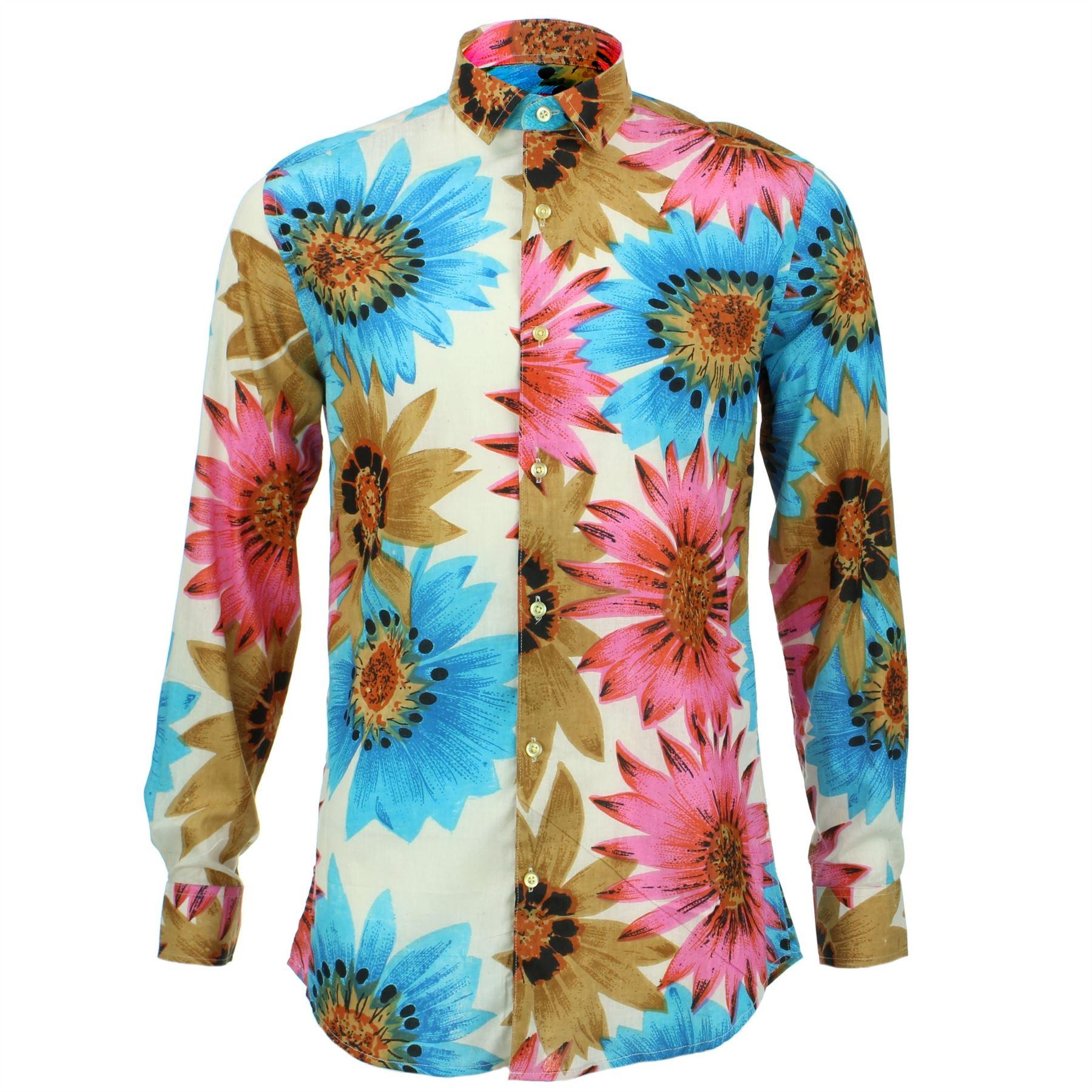 1ffe690599 Camisa Hombre Loud Originales Ajustado Floral Azul Retro Psicodélico ...