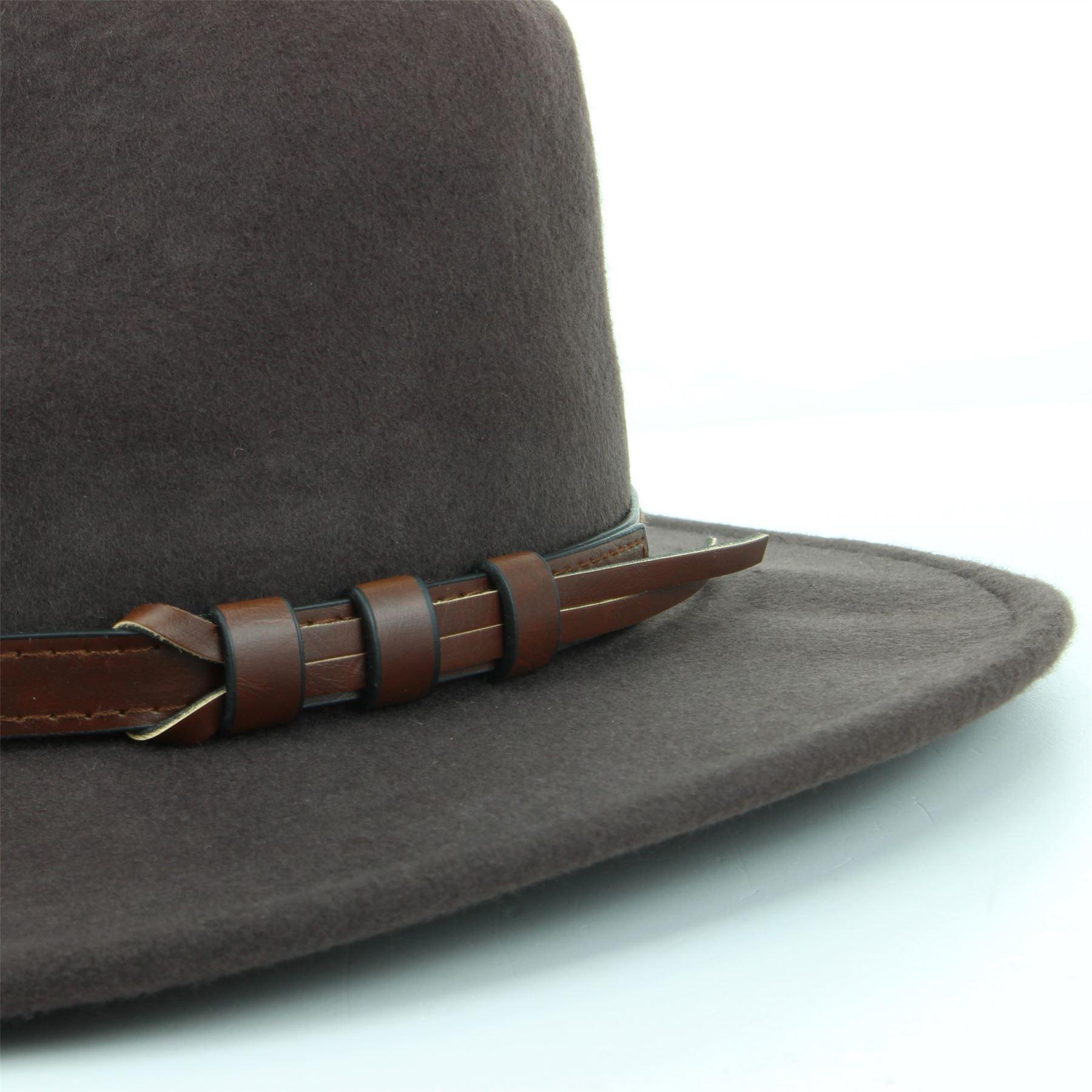 Fedora-Hat-Wool-BLACK-BROWN-Hawkins-Trilby-Brim-Mens-Ladies-Travel thumbnail 9