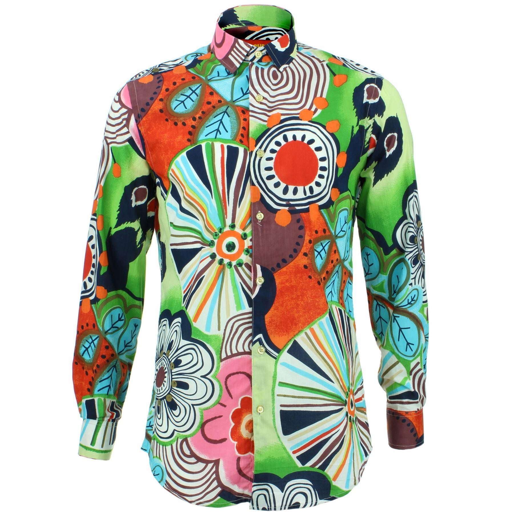 Mens Shirt Loud Originals TAILORED FIT Floral Orange Retro Psychedelic Fancy