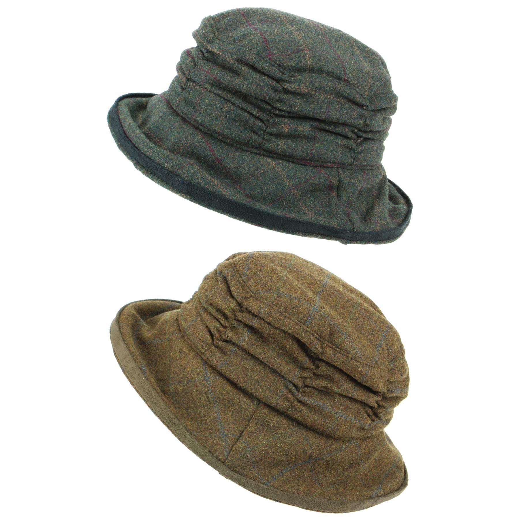 Tweed Cappello a Cloche da Donna in Lana Inverno con Falda Hawkins ... 0a382b551207