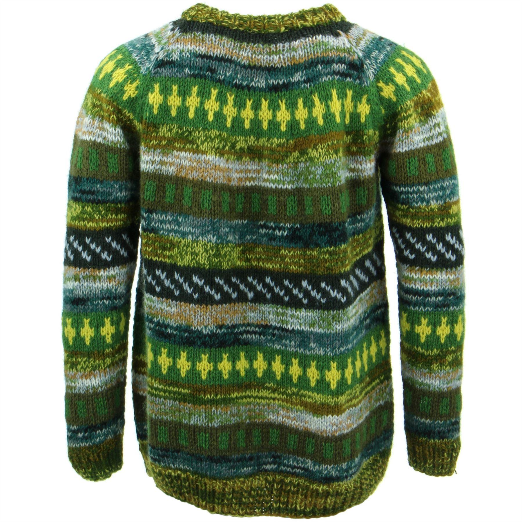 thumbnail 10 - Wool Knit Jumper Sweater Pullover Fairisle Nordic Abstract Warm Nepal Loose