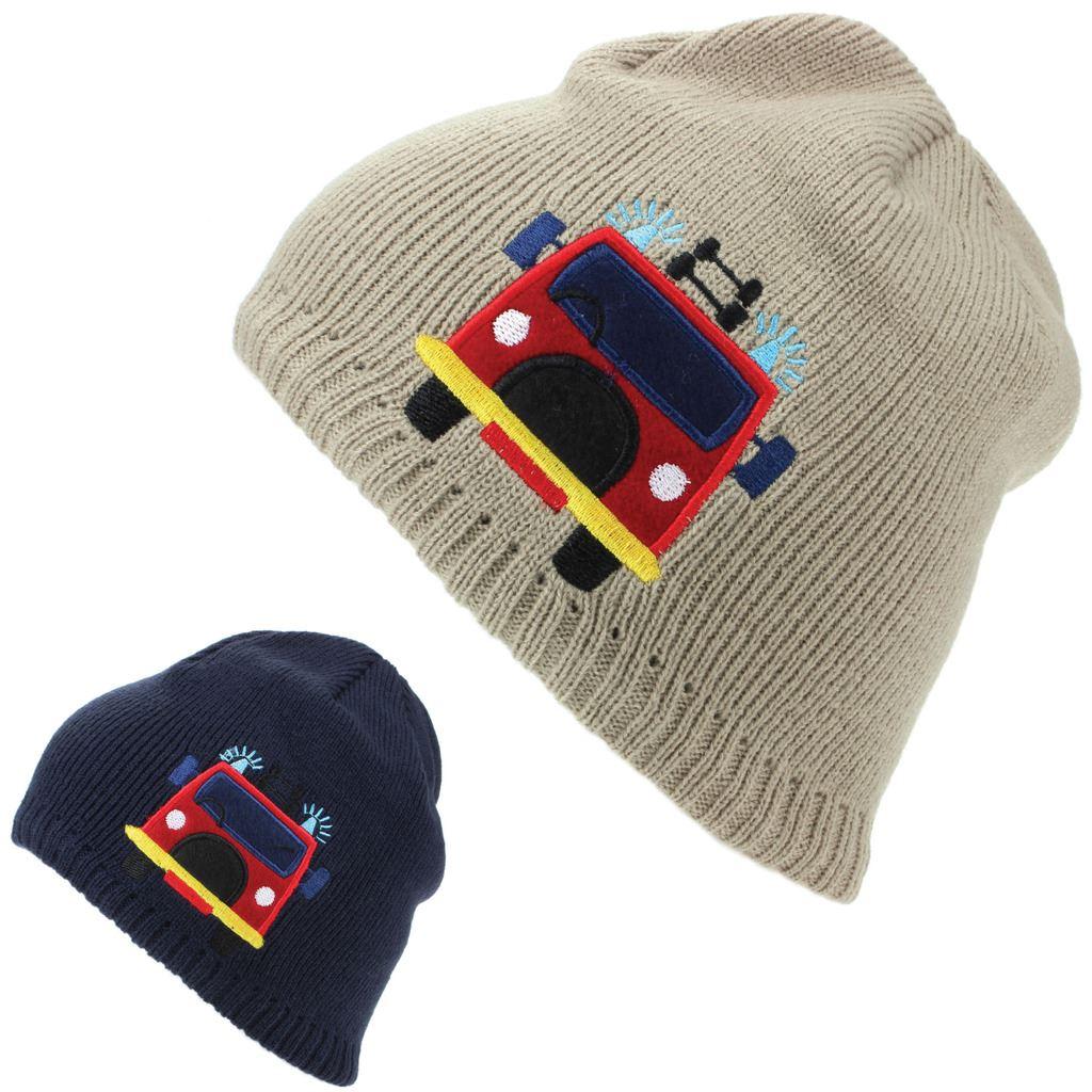 14ceacb60f768 Childrens fine bonnet beanie tricot disposant d'une doublure polaire et un  design de pompier brodé. Chapeau d'hiver chaleureux adapté aux enfants de  tous ...