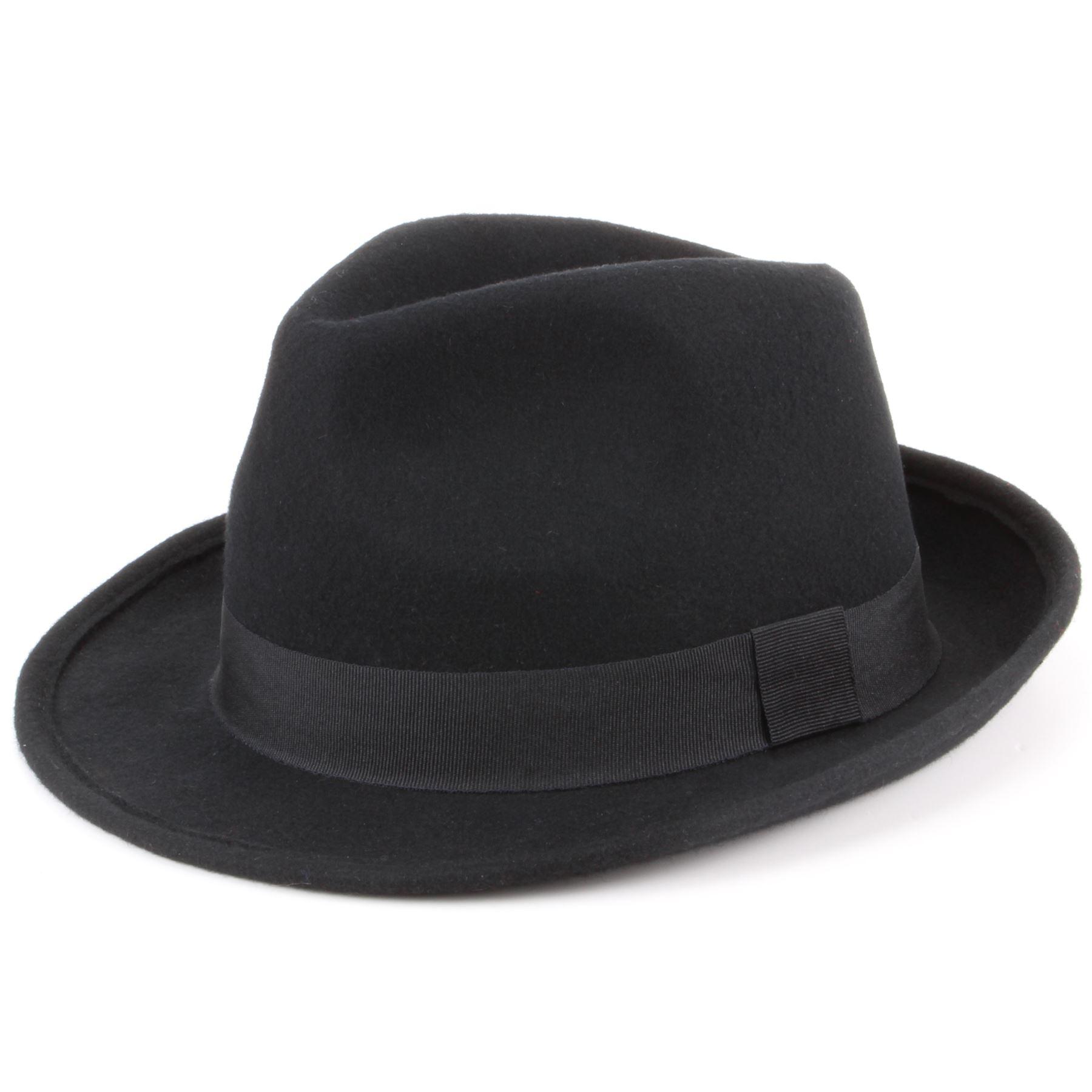 33be9099163 Wool Trilby Hat Hawkins Felt Fedora BLACK BROWN Mens Ladies M S