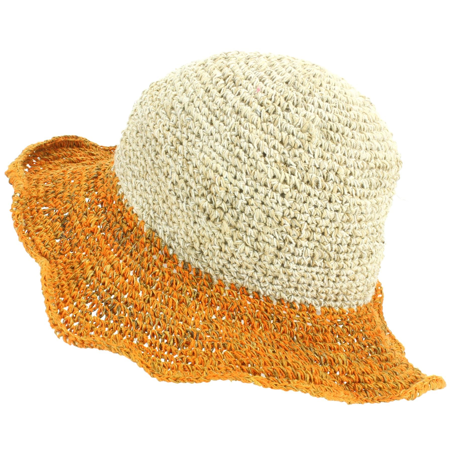 eb155f60584c71 Beach Brim Loudelephant Cotton orange Colour Hemp Cap Green Boho Brim Sun  Summer Hat Hippie aBxq4F1