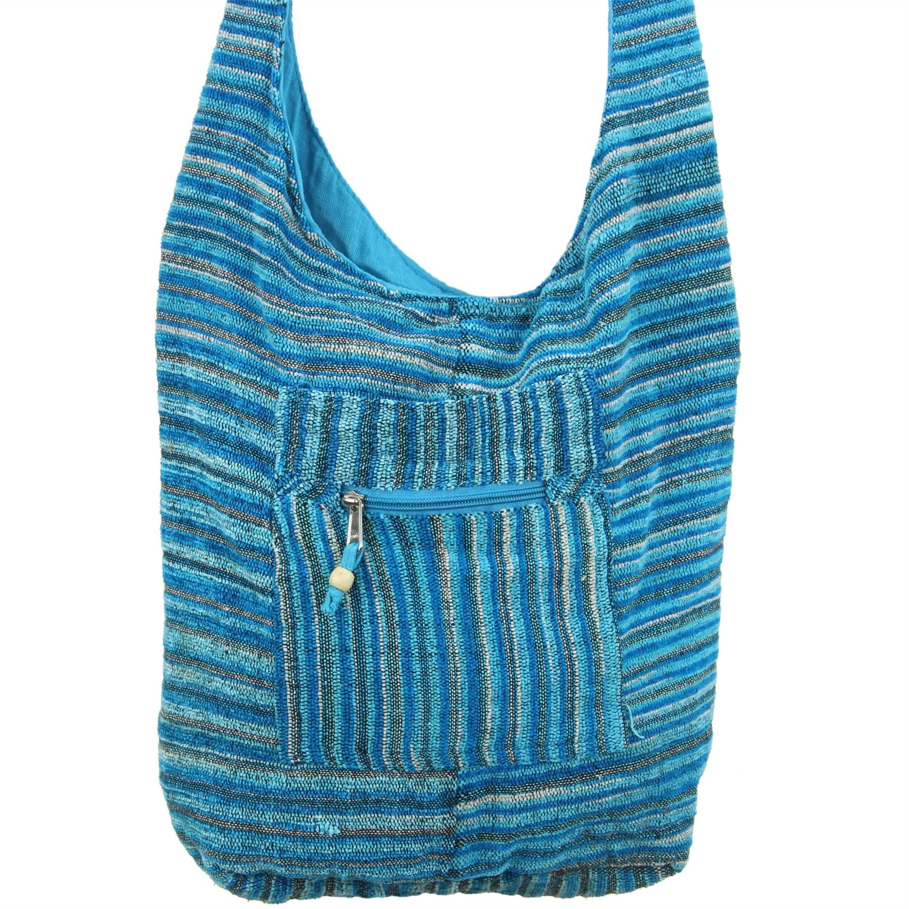Sling-Bag-Chenille-Messenger-bandolera-cuerpo-transversal-Bolso-de-Mano-Bolso-Mochila-HOBO-HIPPIE miniatura 3