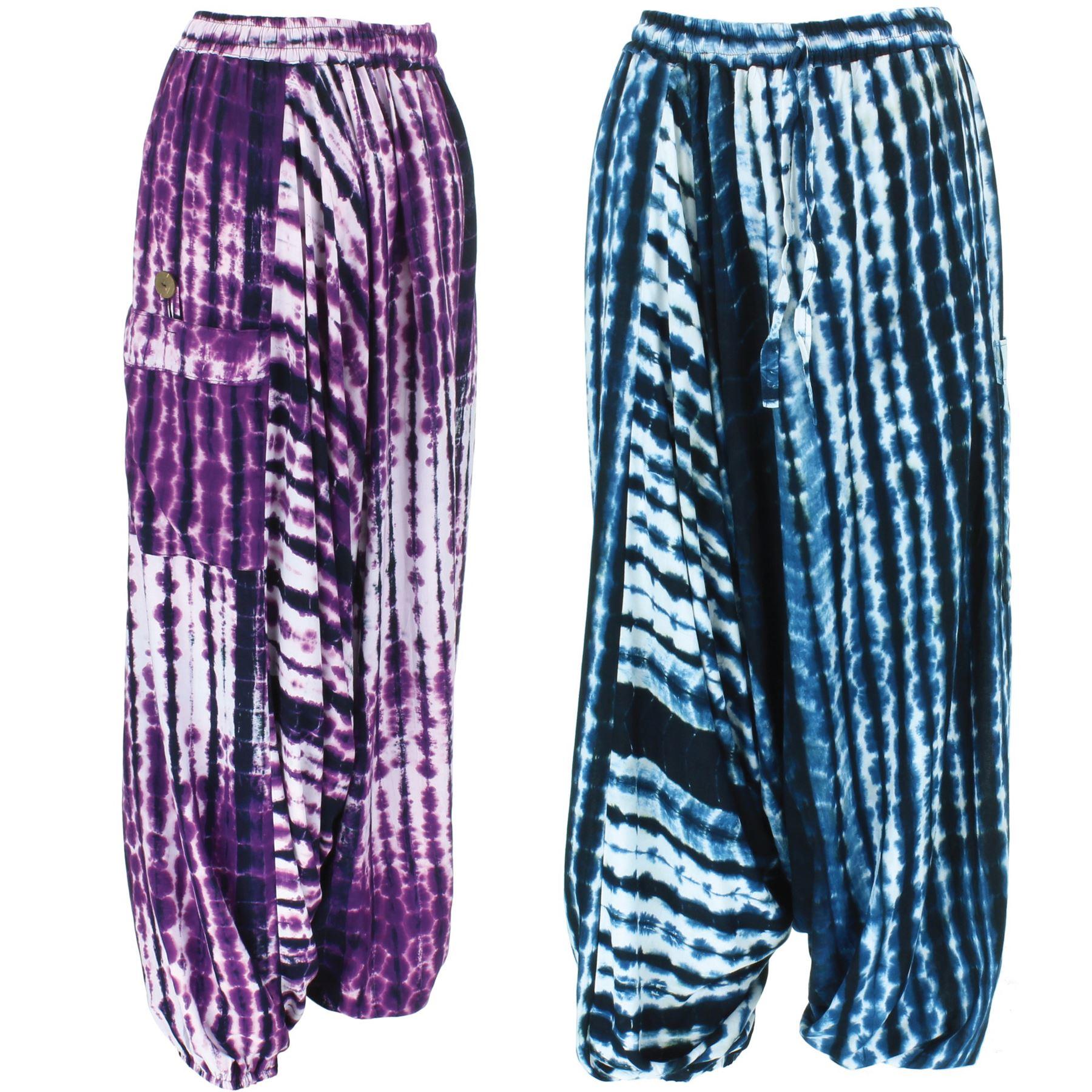 New Ladies Pants Alibaba Italian Lagenlook TieDye Harem Baggy Trousers *5CLRS*