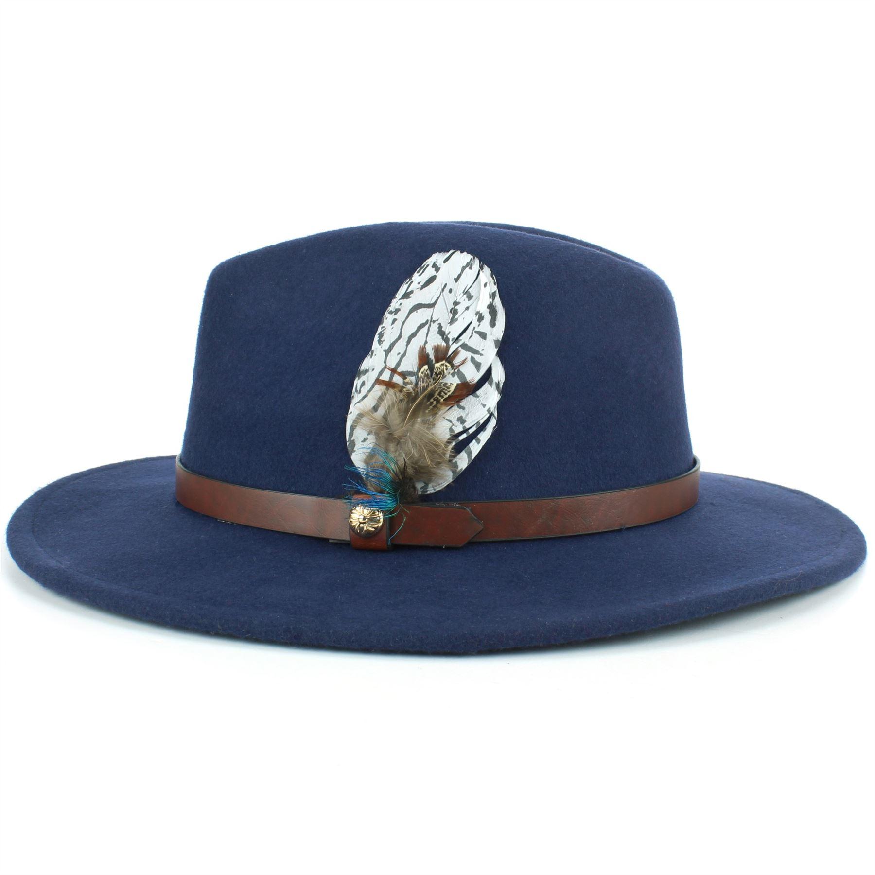 Fedora-Hat-Wool-Felt-Hawkins-Feather-Band-Trilby-Ladies-Men-Travel-Brim-Travel thumbnail 12