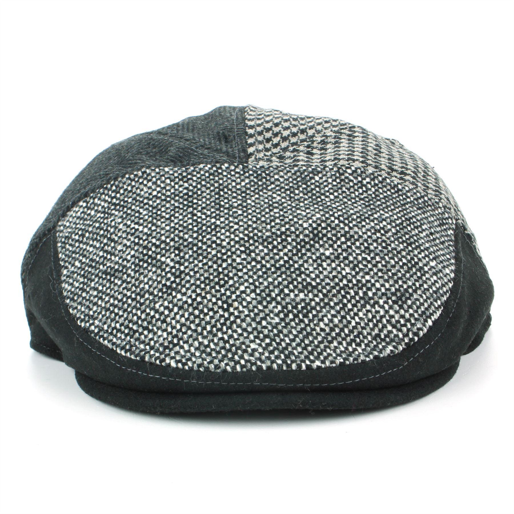 Tweed Flat Cap Hat bleu vert laine Hawkins Panneau tissu patchwork Herringbone