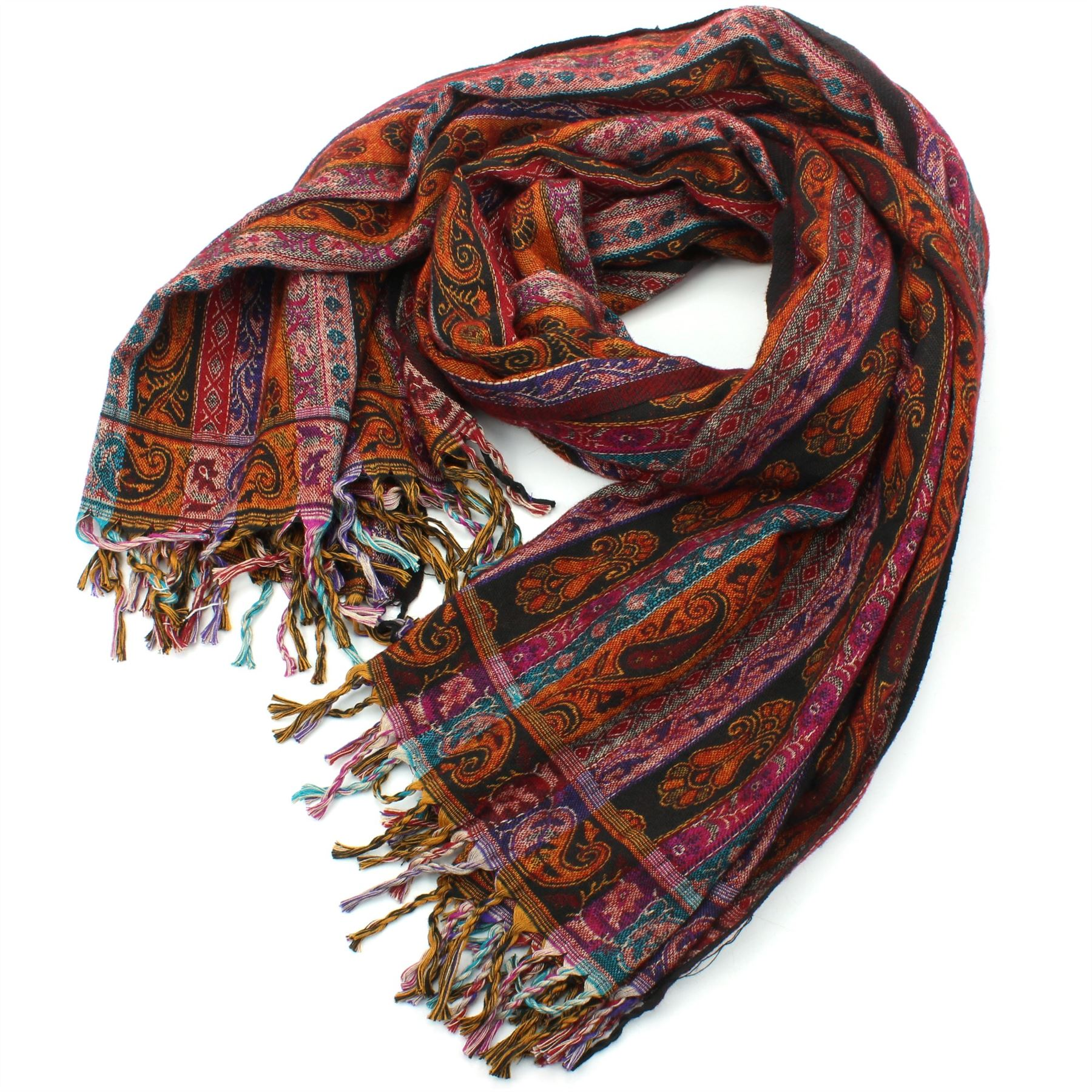 Acrylic-Wool-Blanket-Shawl-Wrap-Throw-Finest-Softest-India-Stripe-Paisley-Travel thumbnail 21