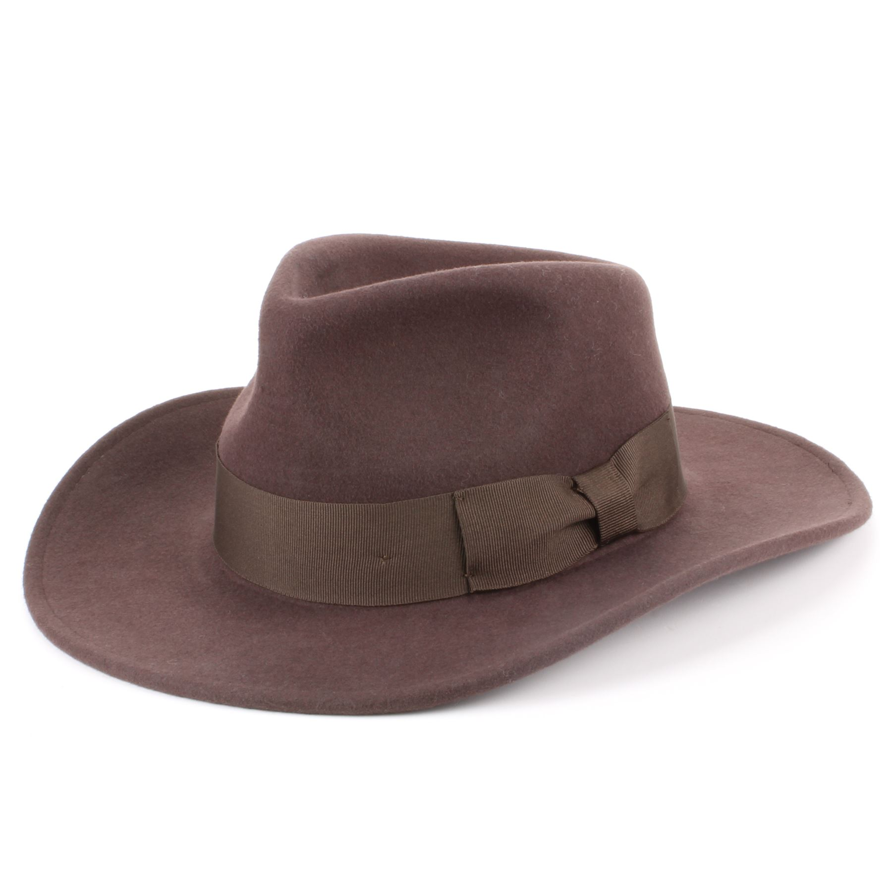 Wide Brim Hawkins Vintage Retro Style Trilby Hat 100/% Wool Felt Ribbon Head Band