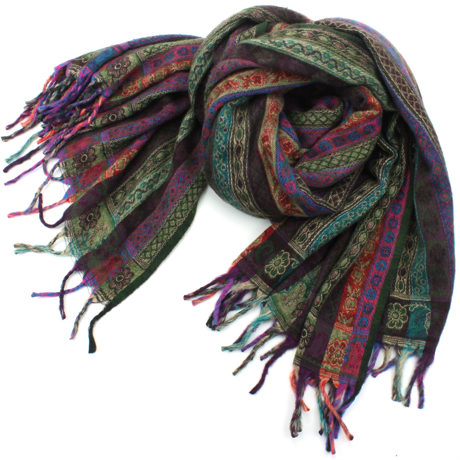 Acrylic-Wool-Blanket-Shawl-Wrap-Throw-Finest-Softest-India-Stripe-Paisley-Travel thumbnail 29