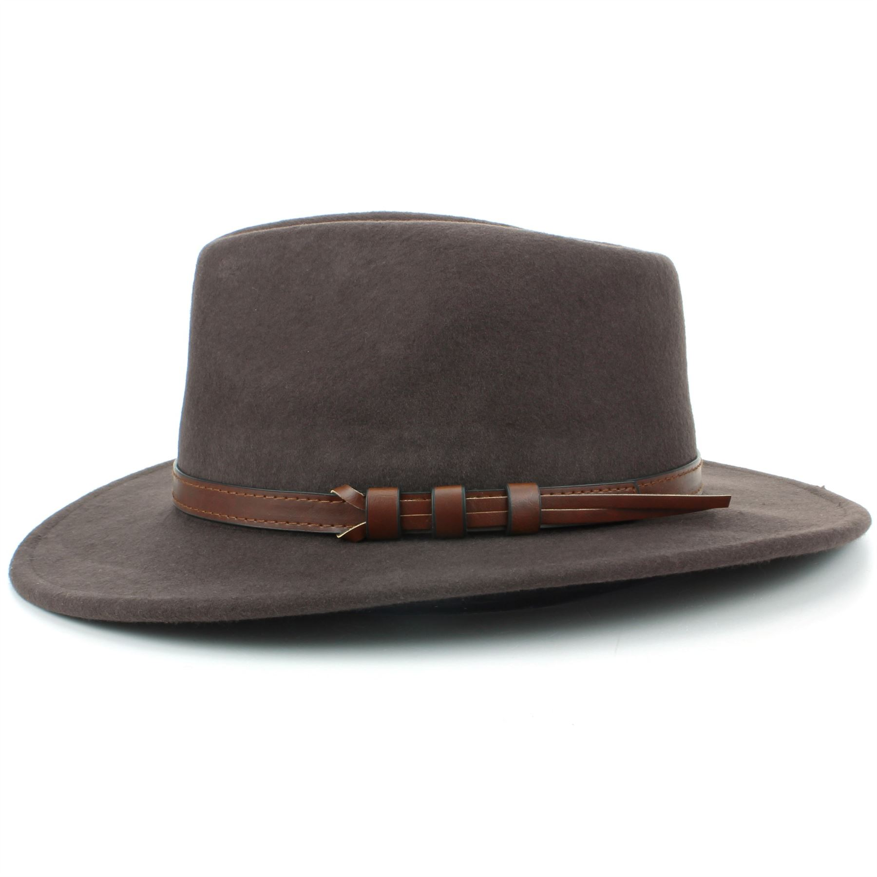 Fedora Hat Wool BLACK BROWN Hawkins Trilby Brim Mens Ladies Travel ... 0ff2647a9b1