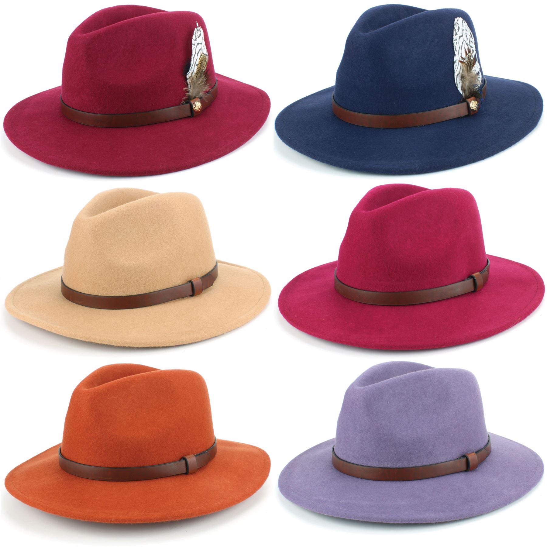 Details about Fedora Hat Wool Felt Hawkins Feather Band Trilby Ladies Men  Travel Brim Travel 61ee3d3feb6