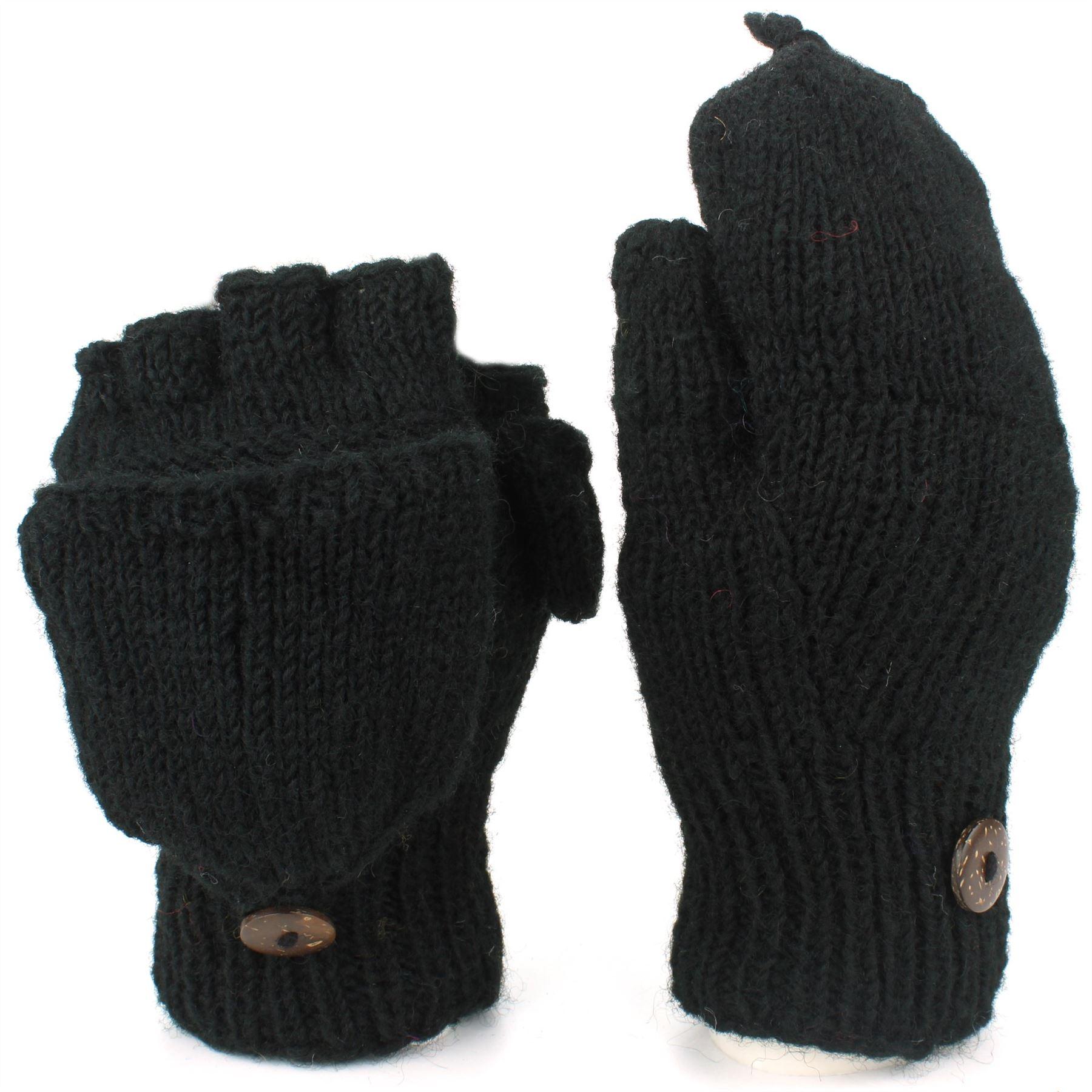 Wool-Gloves-Mittens-Fingerless-Shooter-Lined-PLAIN-Knit-Handmade-LoudElephant miniatura 2