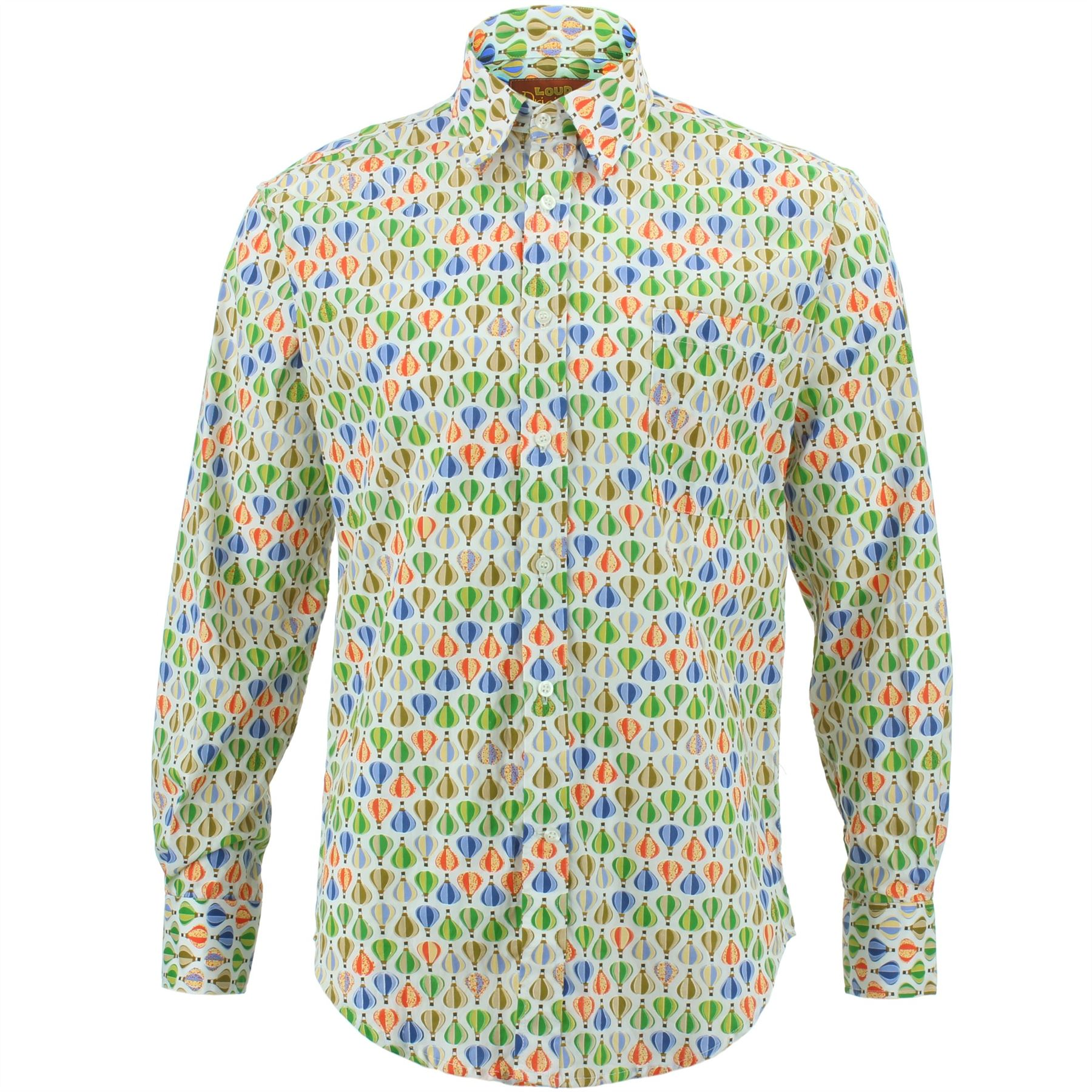 Uomo Camicia Loud Originals tailored Fit Animale Blu Rétro Psichedelico Costume