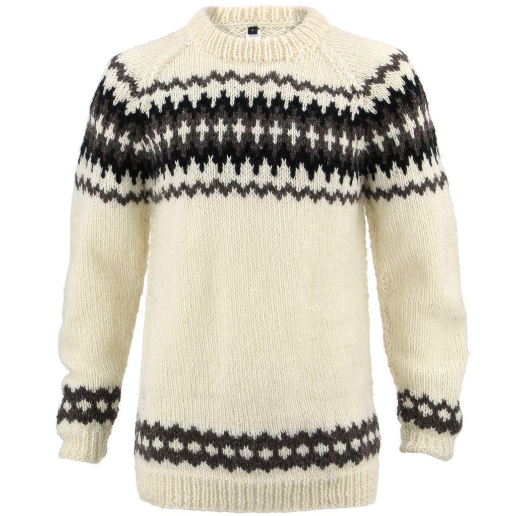Suéter de Lana Blanco Punto Grueso Suéter de Punto Jersey Raglán ...