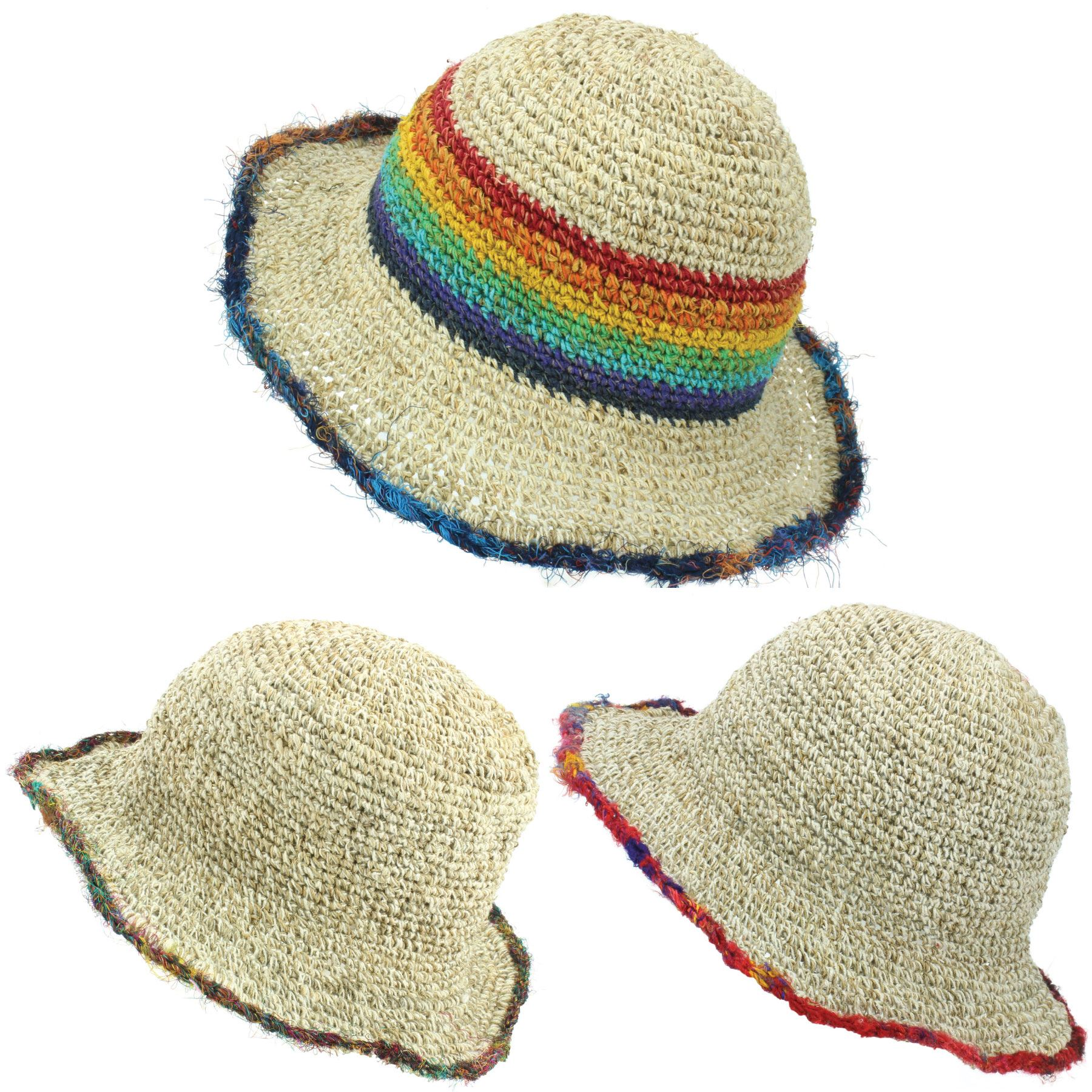 ea954c5ea1d563 Sun Hat Hemp Cotton Summer LoudElephant Brim Beach Cap Boho Hippie ...