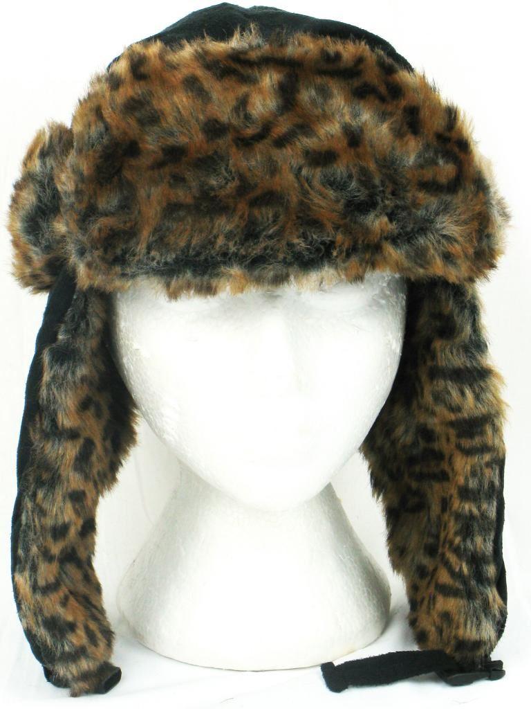 72301754a Details about Suede Trapper Hat Black Leopard Print Fur Trim Ladies Womens  New Winter Warm