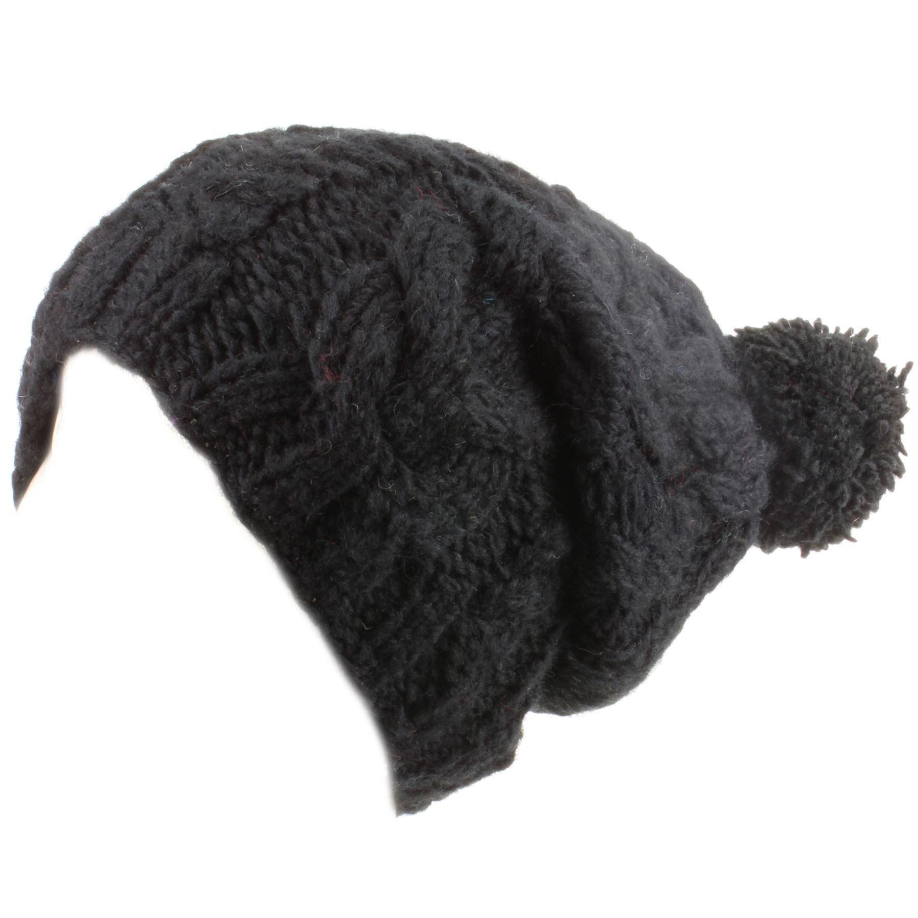 Bobble Beanie Hat Wool Baggy Slouch Cable knit Men Ladies Warm ... 3b6d48874ce