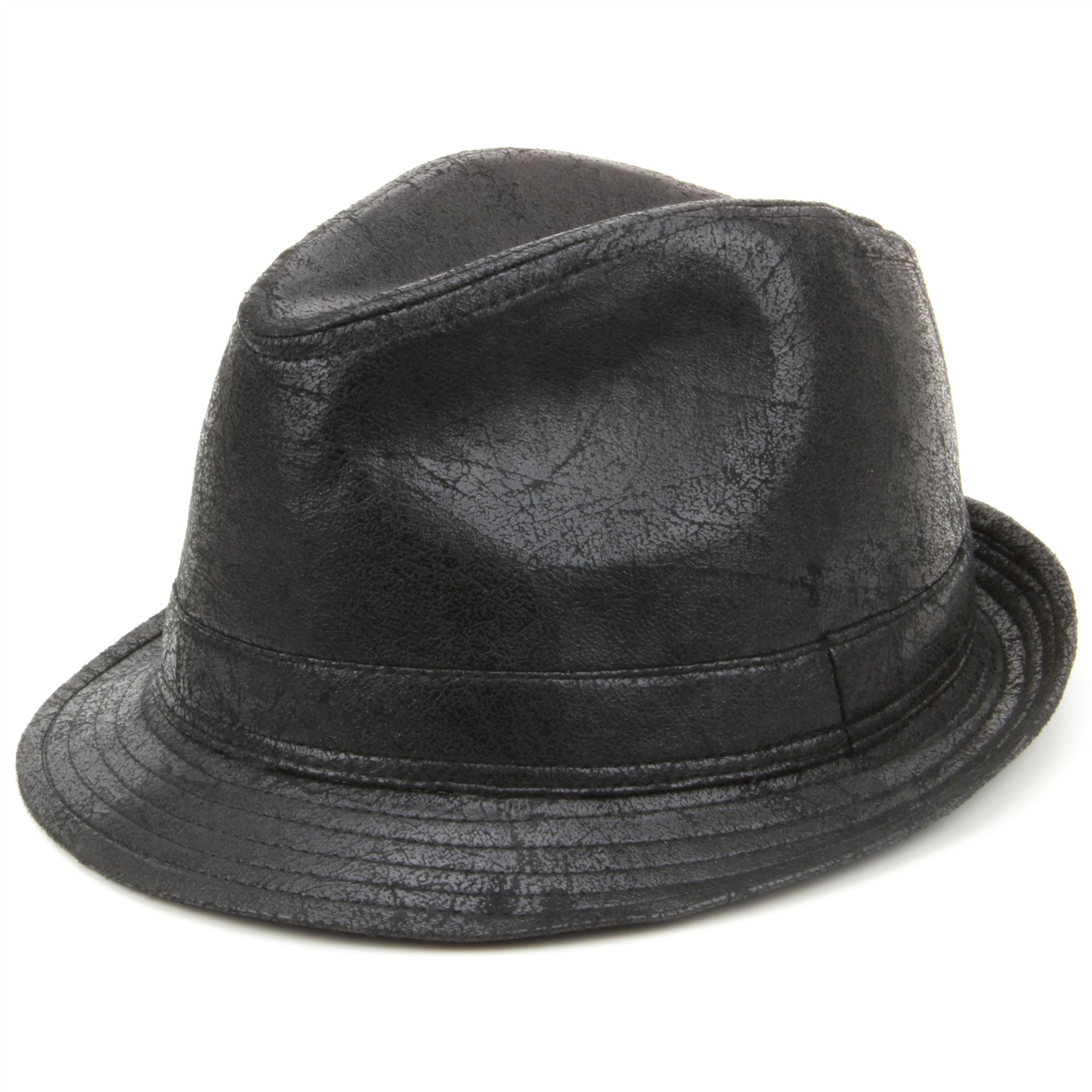 a8b72244be7ae Details about Trilby Hat BLACK Hawkins Distressed Leather Effect Faux Retro  Fedora Vintage